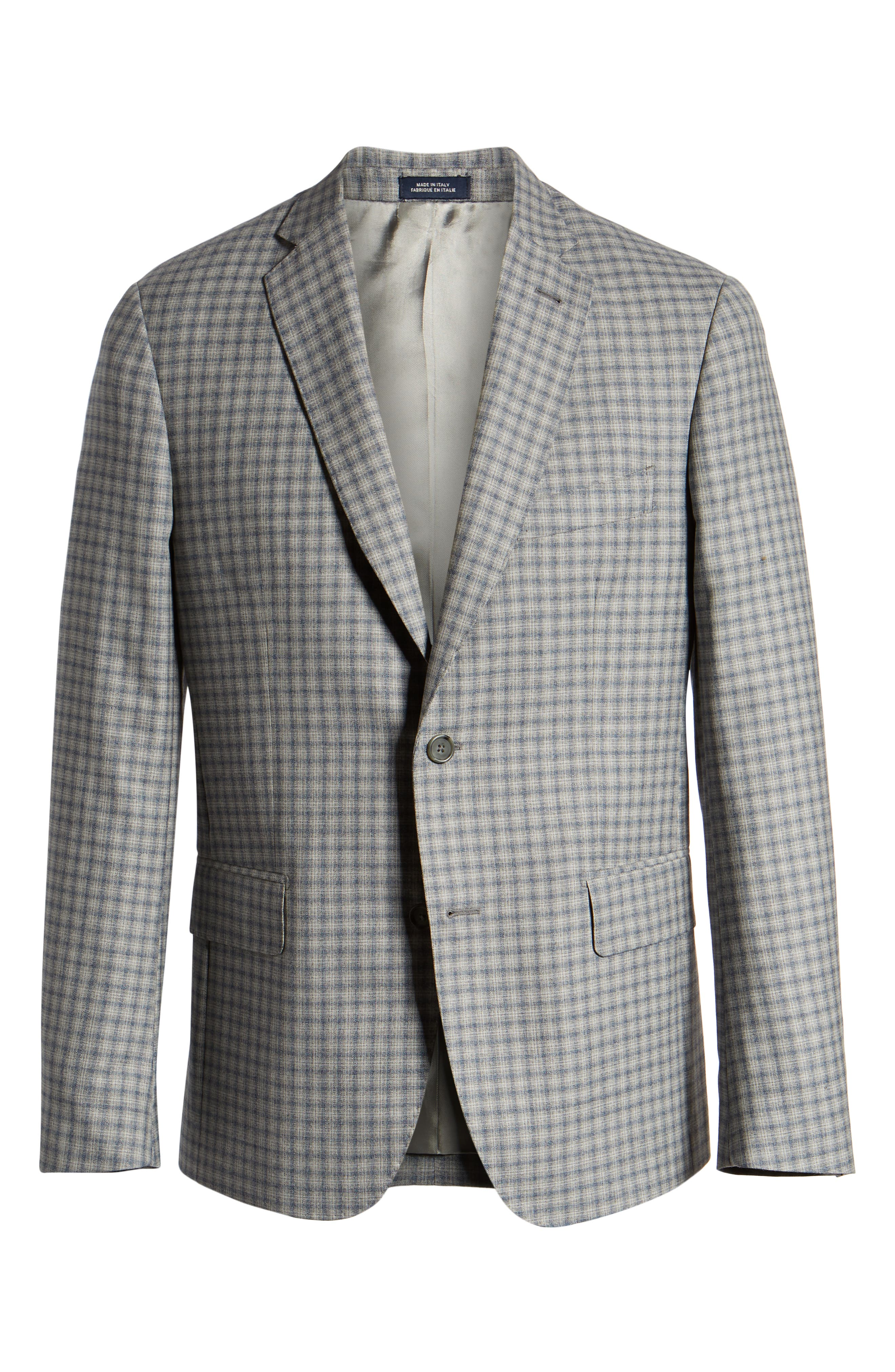 JOHN W. NORDSTROM<SUP>®</SUP>, Traditional Fit Plaid Wool Sport Coat, Alternate thumbnail 5, color, GREY FILIGREE BLUE CHECK