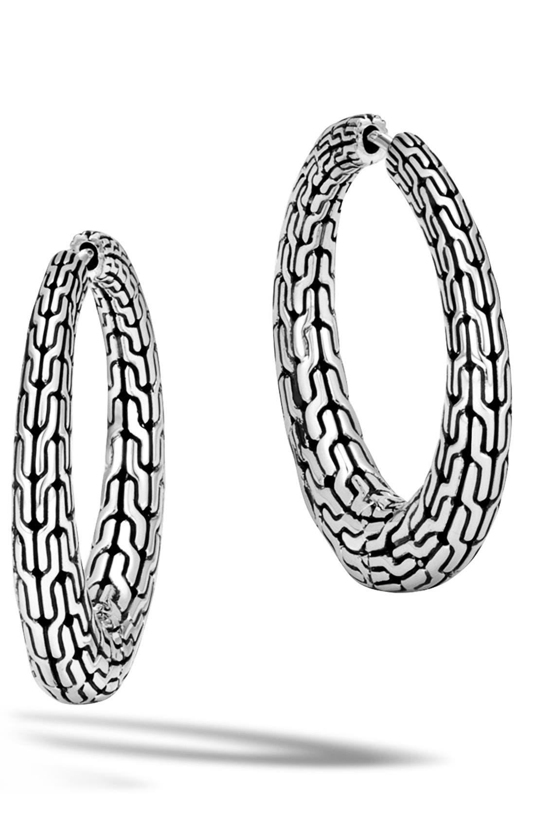 JOHN HARDY, Classic Chain Small Hinge Hoop Earrings, Main thumbnail 1, color, SILVER