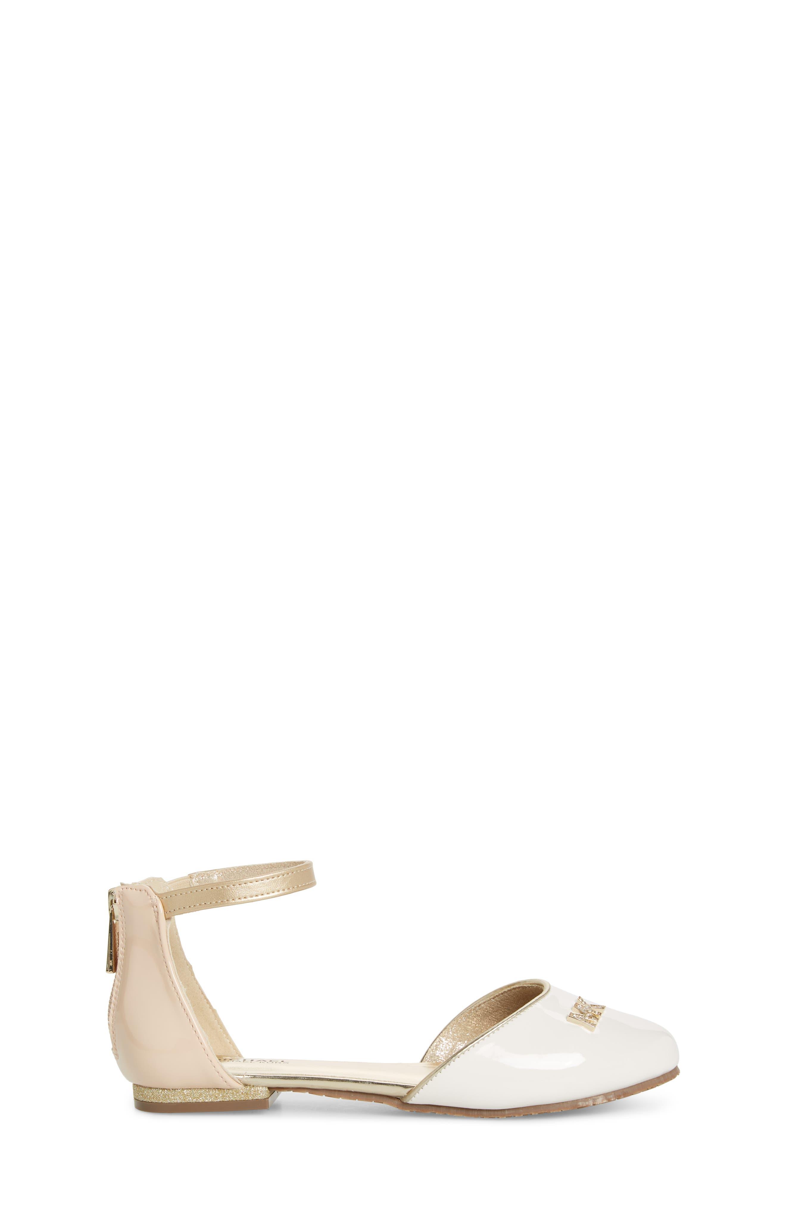 MICHAEL MICHAEL KORS, Kitten Kaisa Glitter Heel Sandal, Alternate thumbnail 3, color, GOLD MULTI