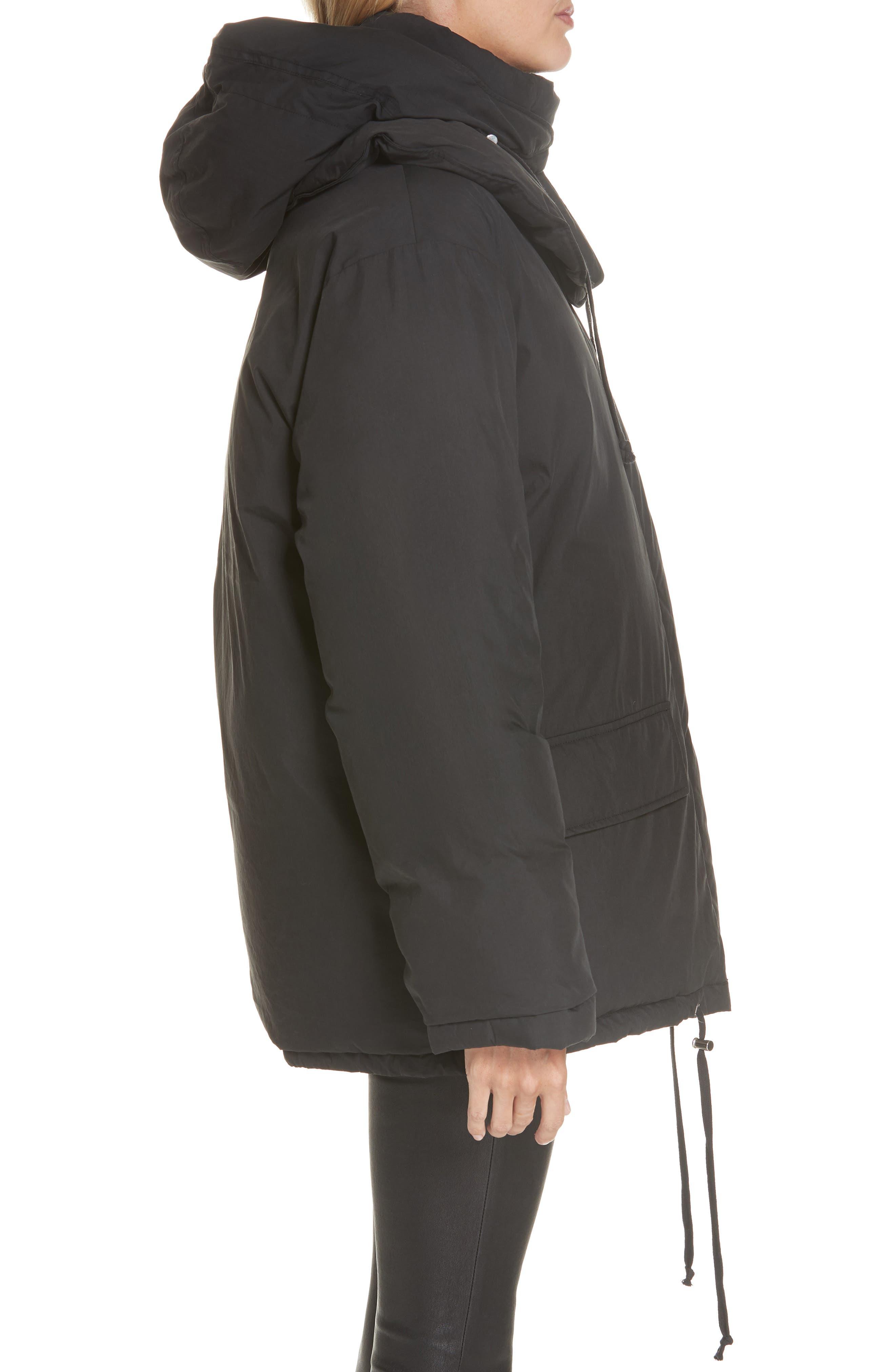 HELMUT LANG, Removable Hood Puffer Jacket, Alternate thumbnail 5, color, 001