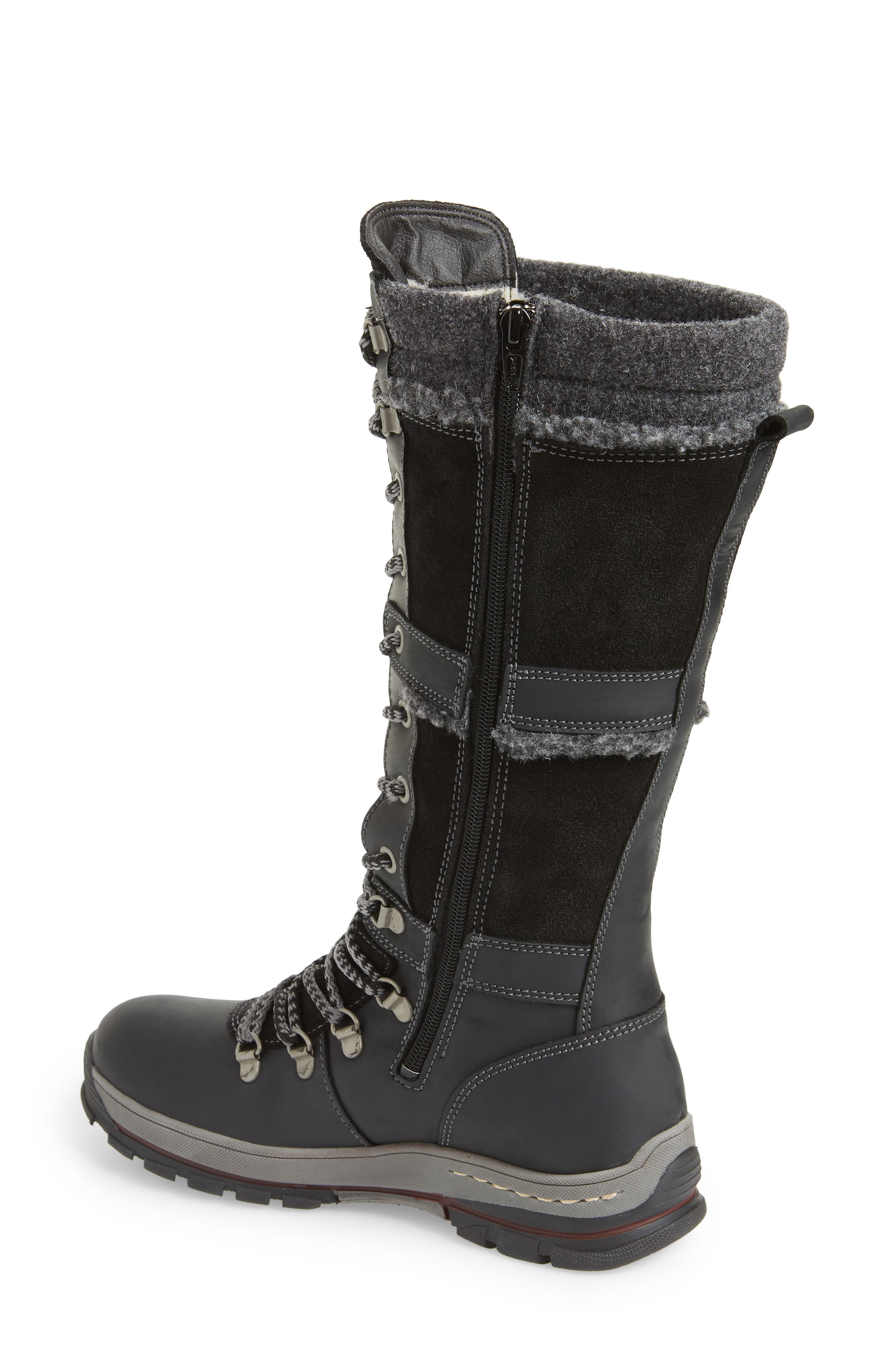 BOS. & CO., Gabriella Waterproof Boot, Alternate thumbnail 2, color, BLACK/ DARK GREY CROMAGNON
