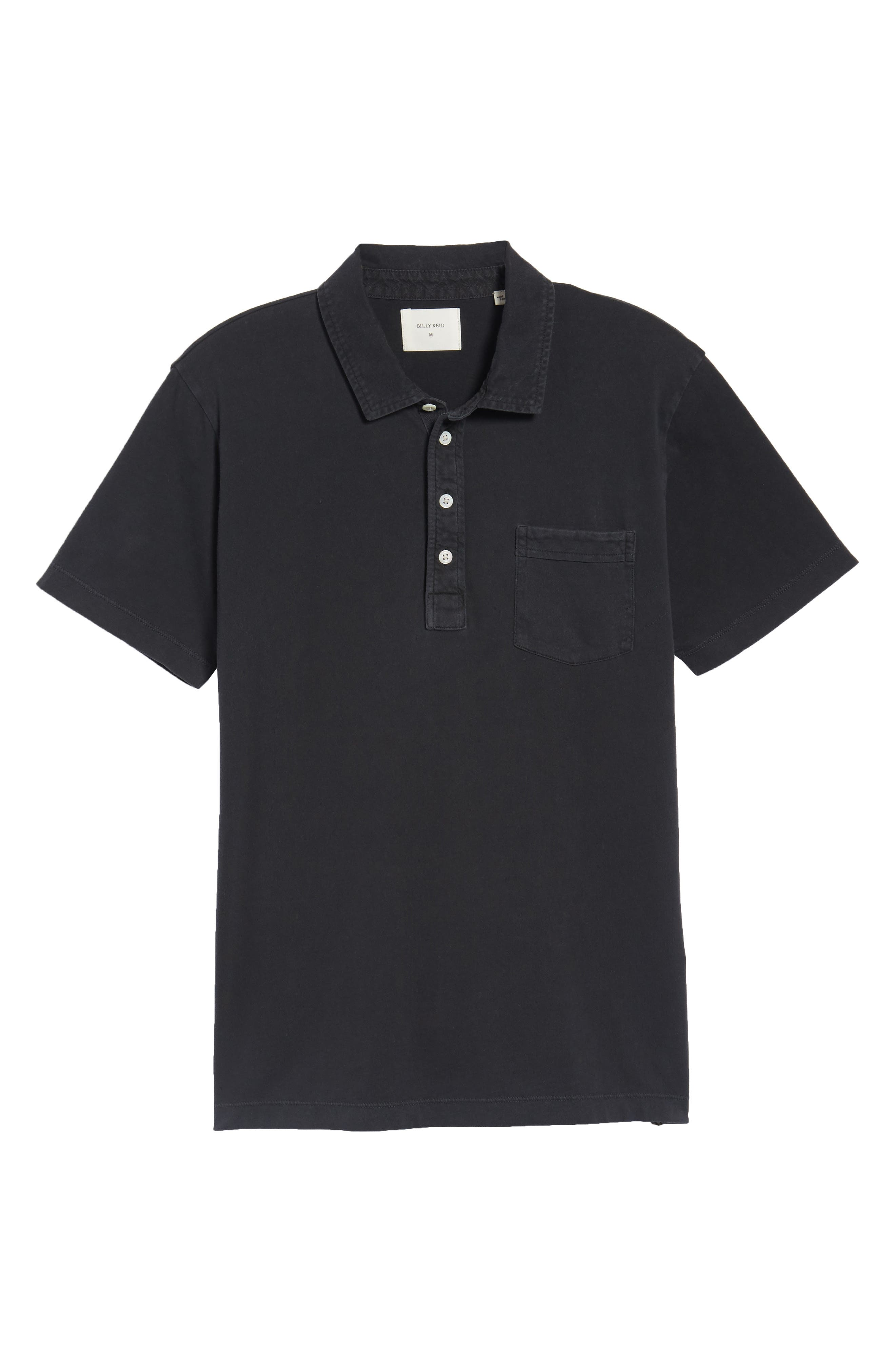 BILLY REID, Pensacola Slim Fit Garment Dye Polo, Alternate thumbnail 6, color, BLACK