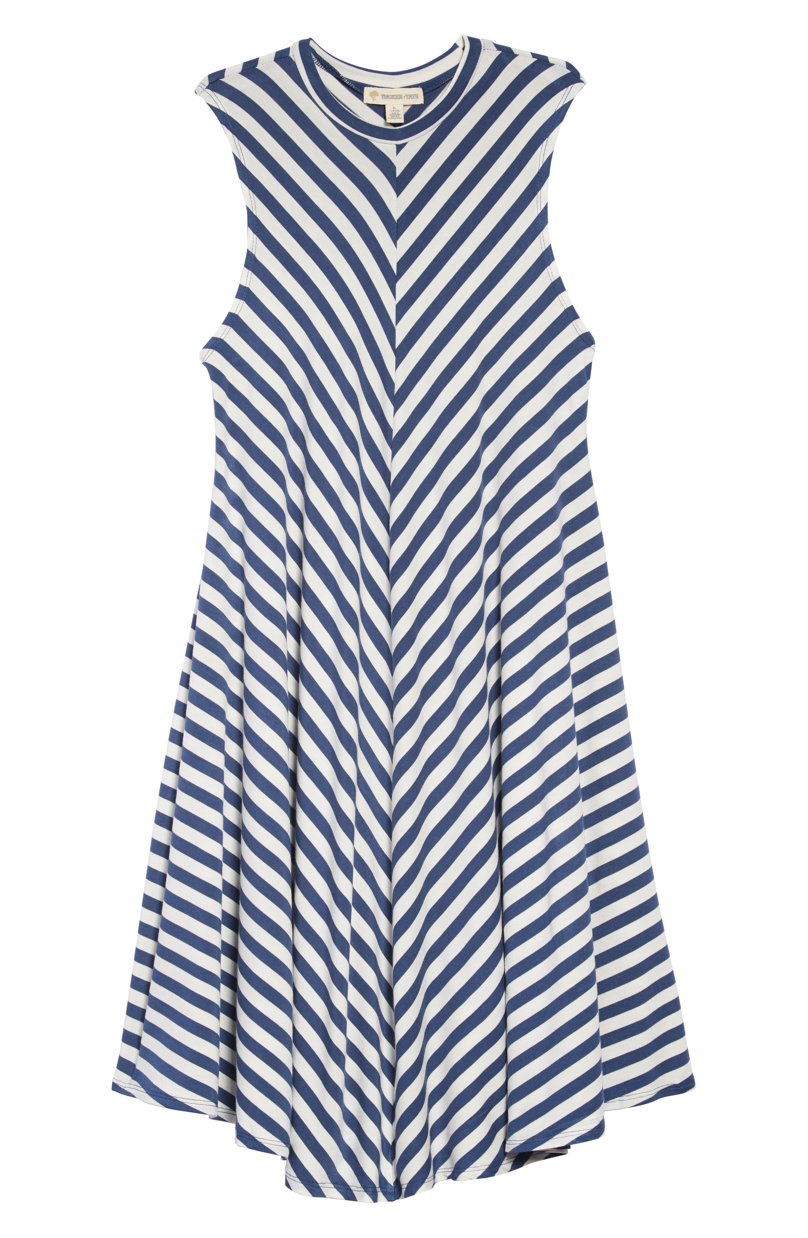TUCKER + TATE, Print Sleeveless Knit Dress, Main thumbnail 1, color, NAVY DENIM- IVORY STRIPE