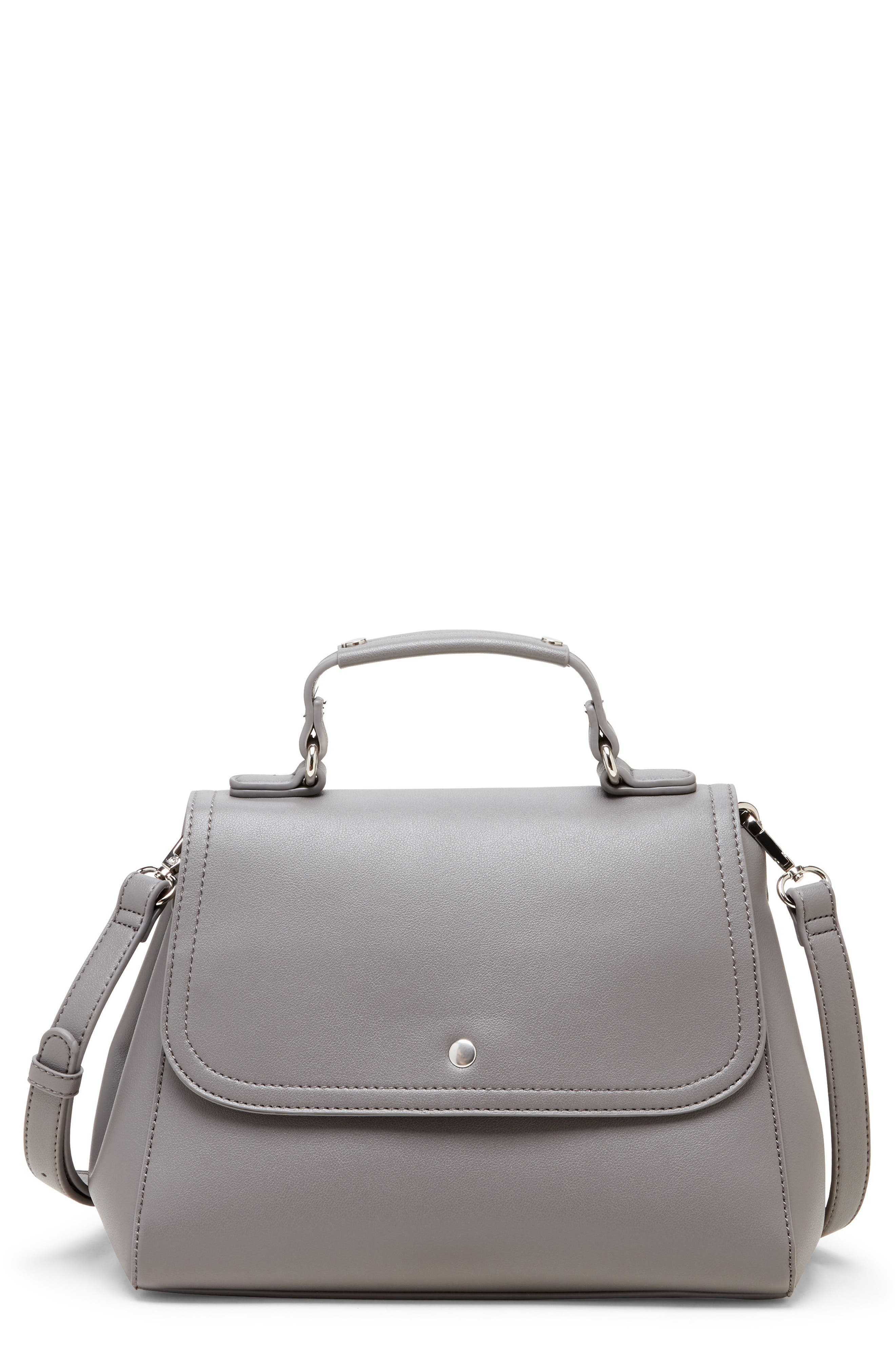 SOLE SOCIETY, Hingi Faux Leather Satchel, Main thumbnail 1, color, GREY