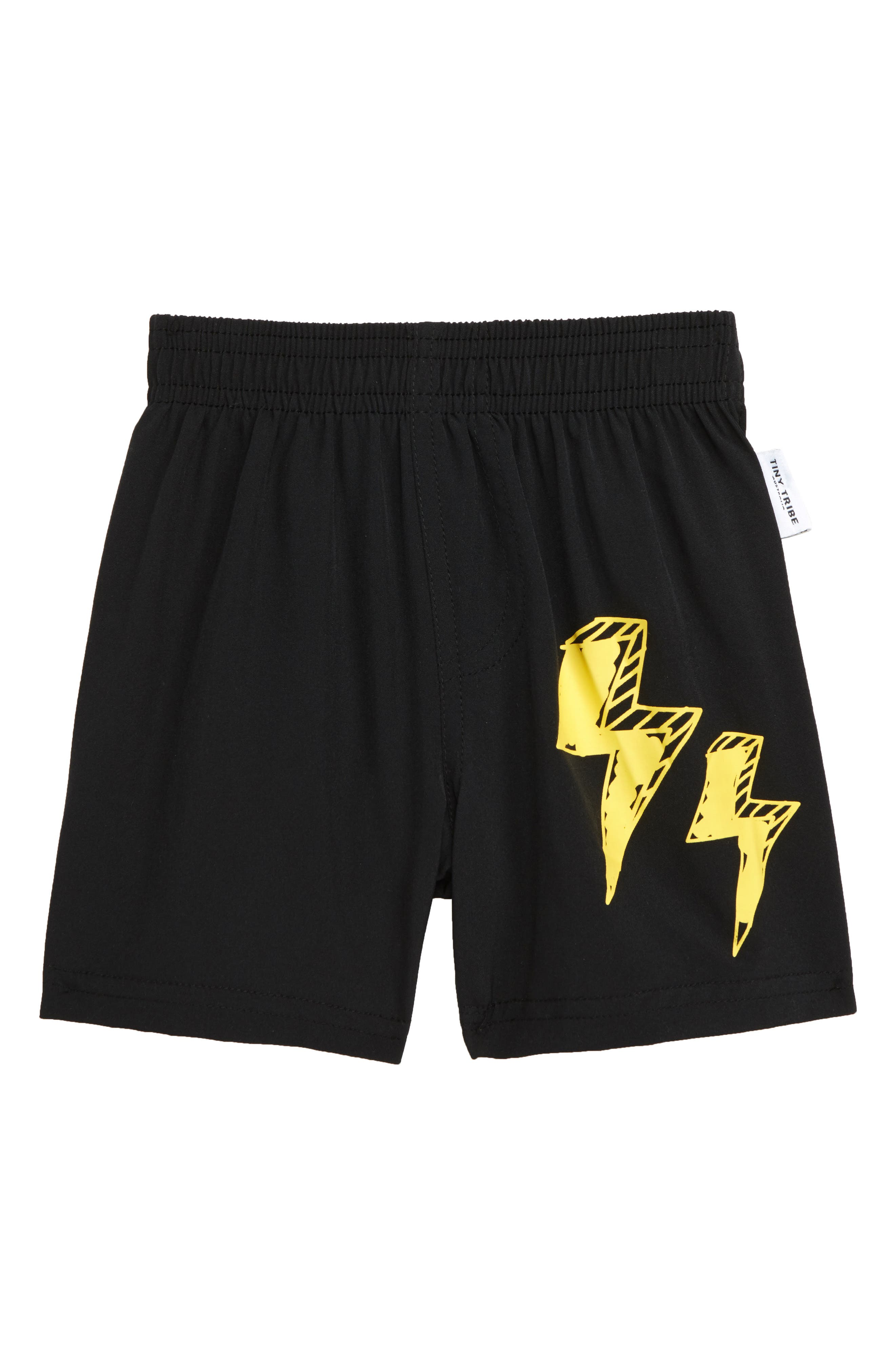 TINY TRIBE, Lightning Board Shorts, Main thumbnail 1, color, BLACK
