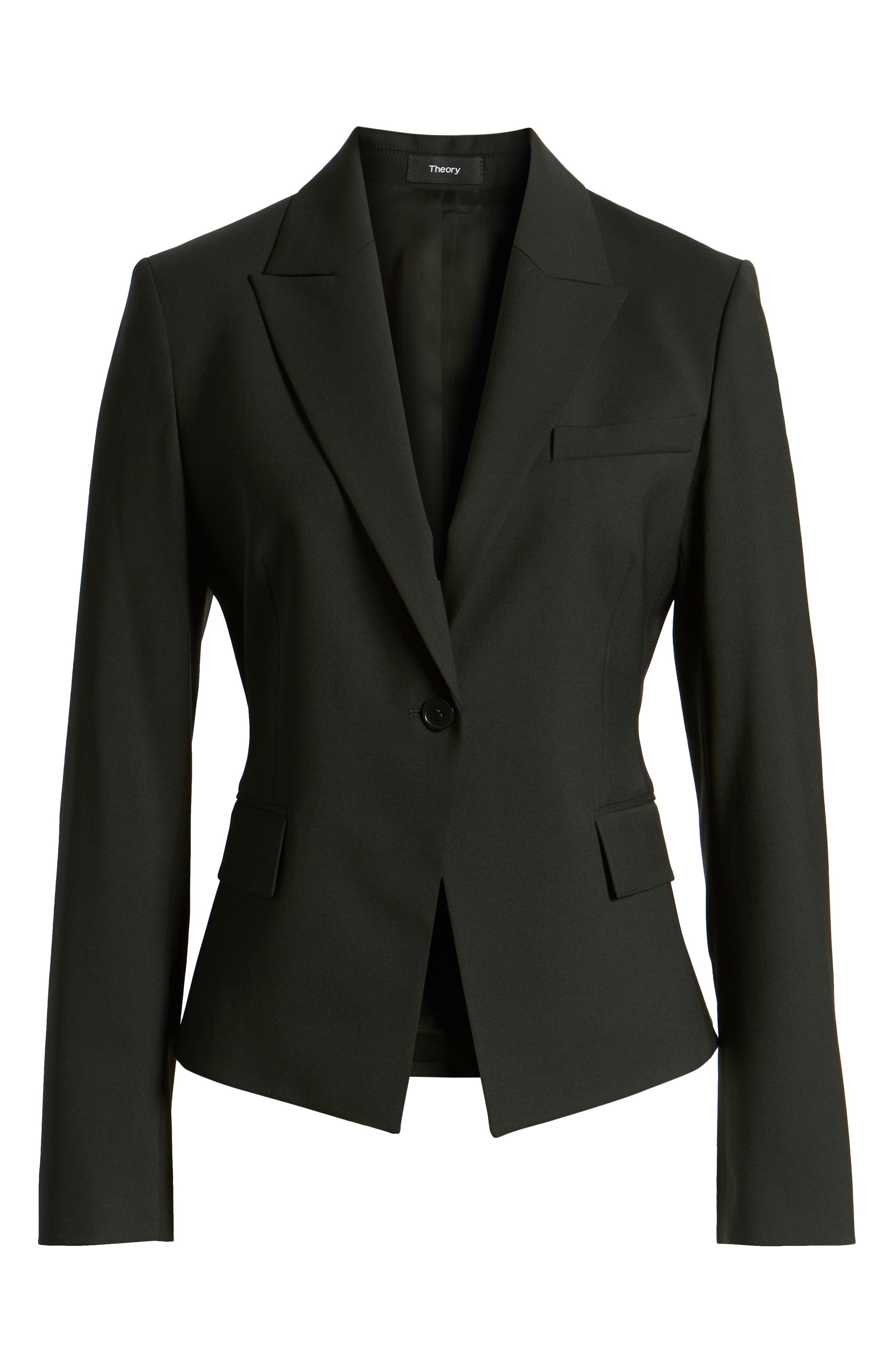 THEORY, Brince B Good Wool Suit Jacket, Alternate thumbnail 6, color, BLACK