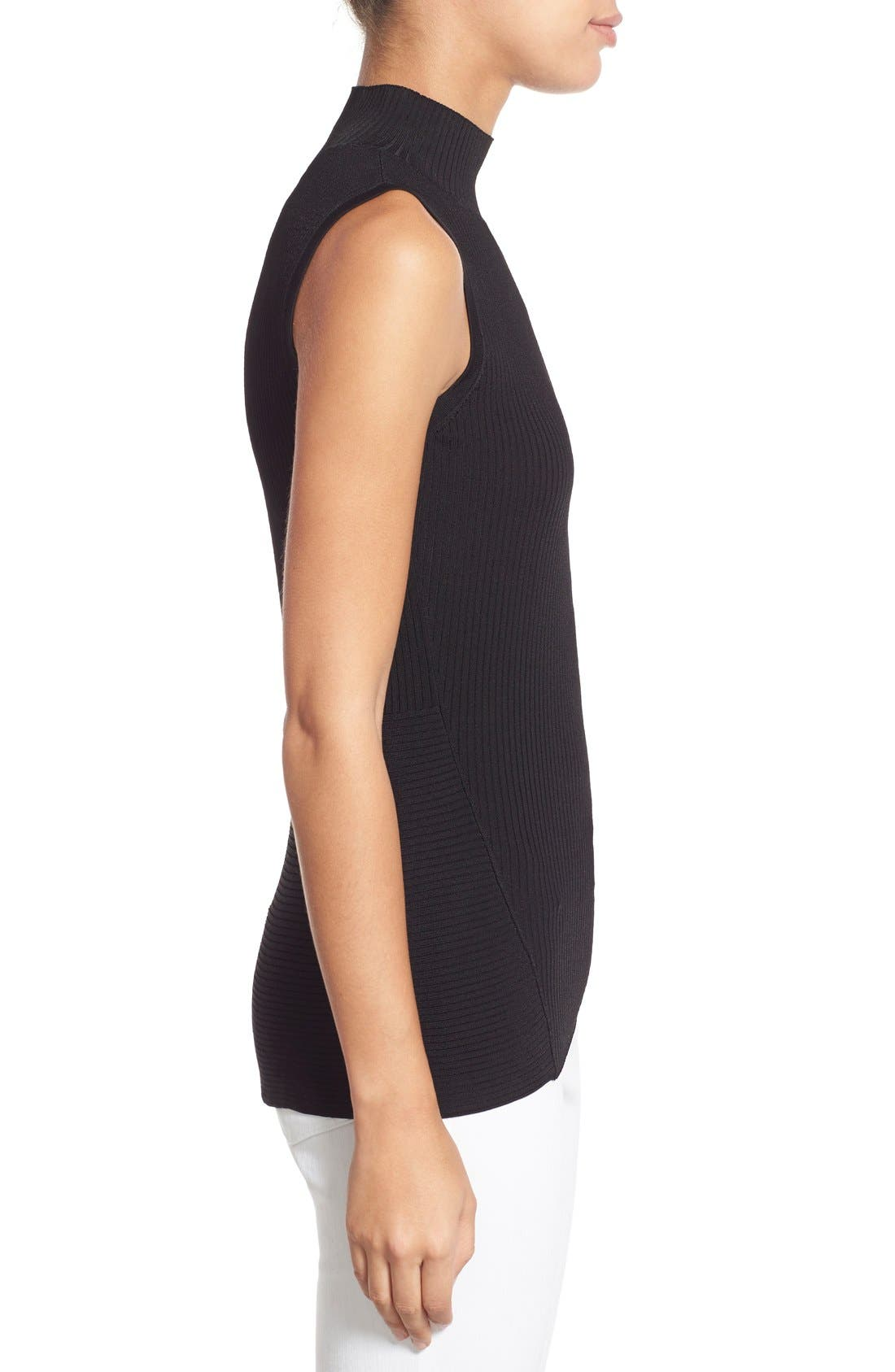 HALOGEN<SUP>®</SUP>, Ribbed Mock Neck Top, Alternate thumbnail 2, color, 001