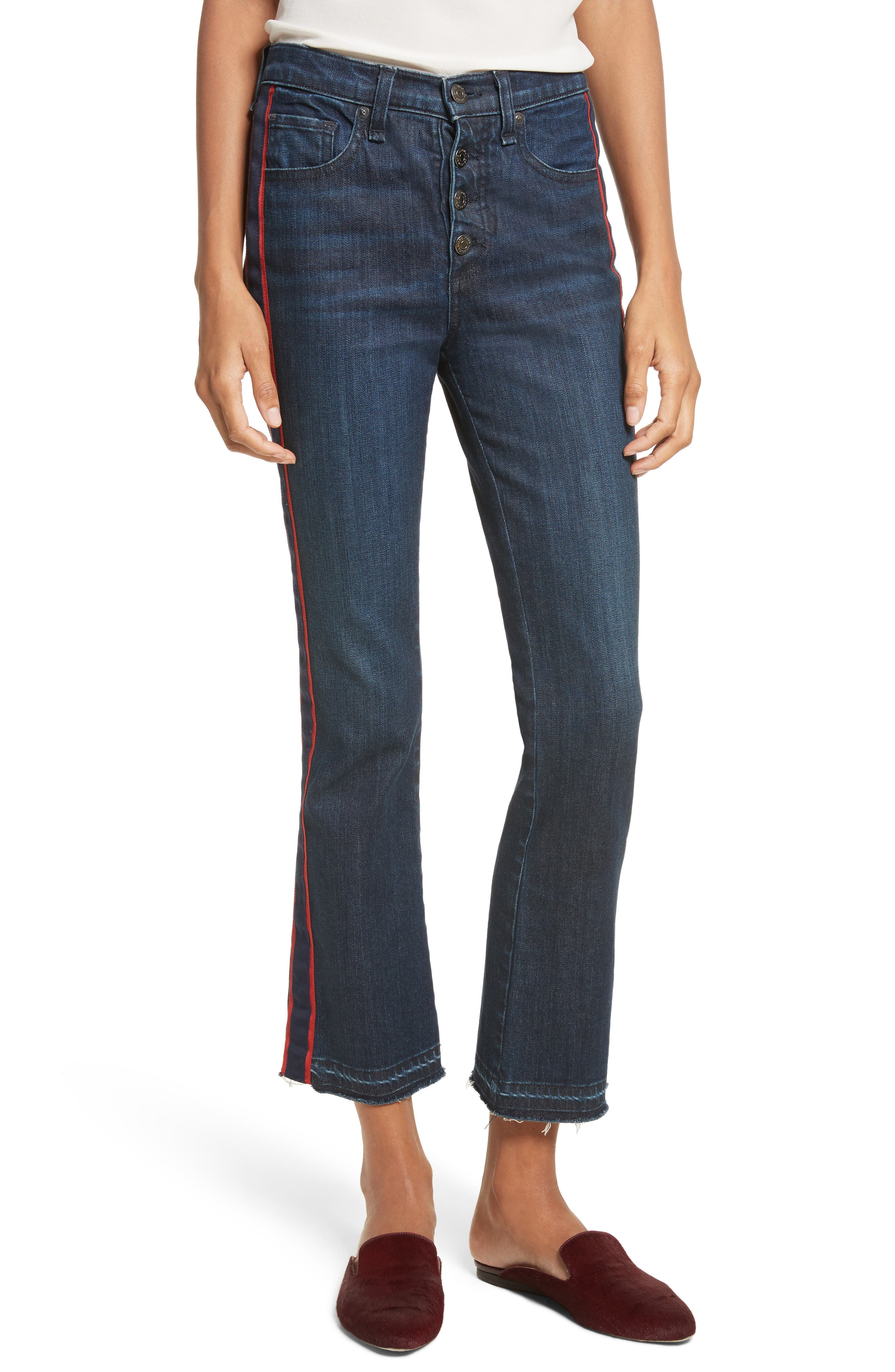 VERONICA BEARD, Carolyn Tuxedo Stripe Baby Boot Crop Jeans, Main thumbnail 1, color, MIDNIGHT FRAY/ RED
