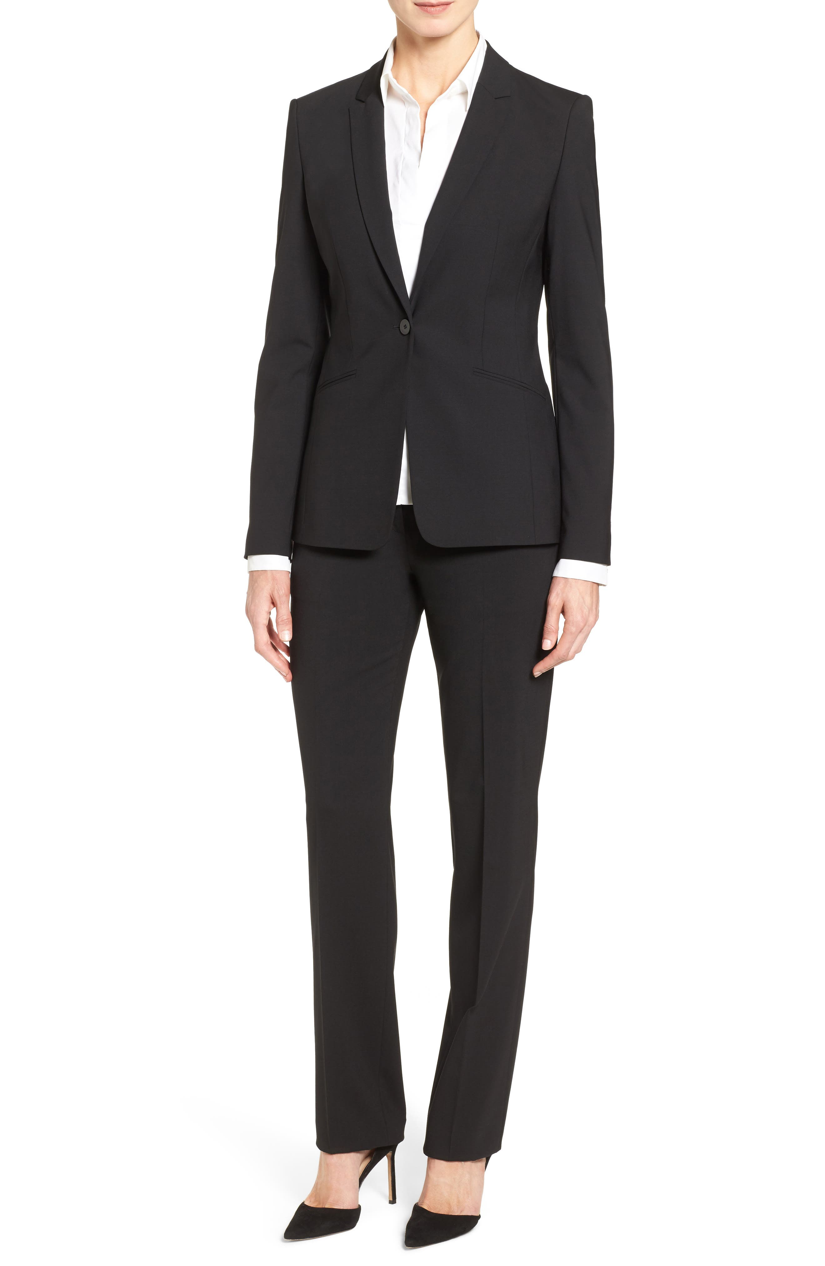 BOSS Jabina Tropical Stretch Wool Jacket, Main, color, BLACK