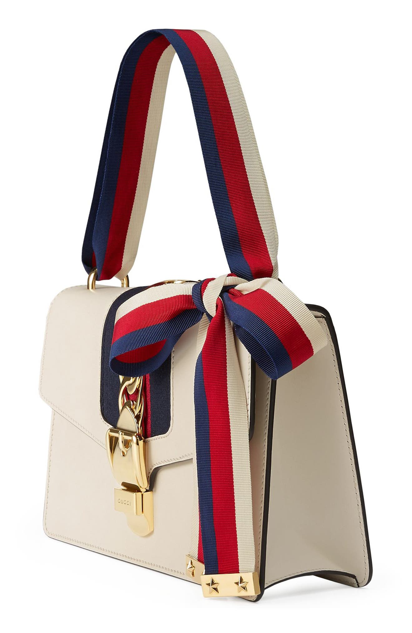 GUCCI, Small Sylvie Leather Shoulder Bag, Alternate thumbnail 4, color, WHITE