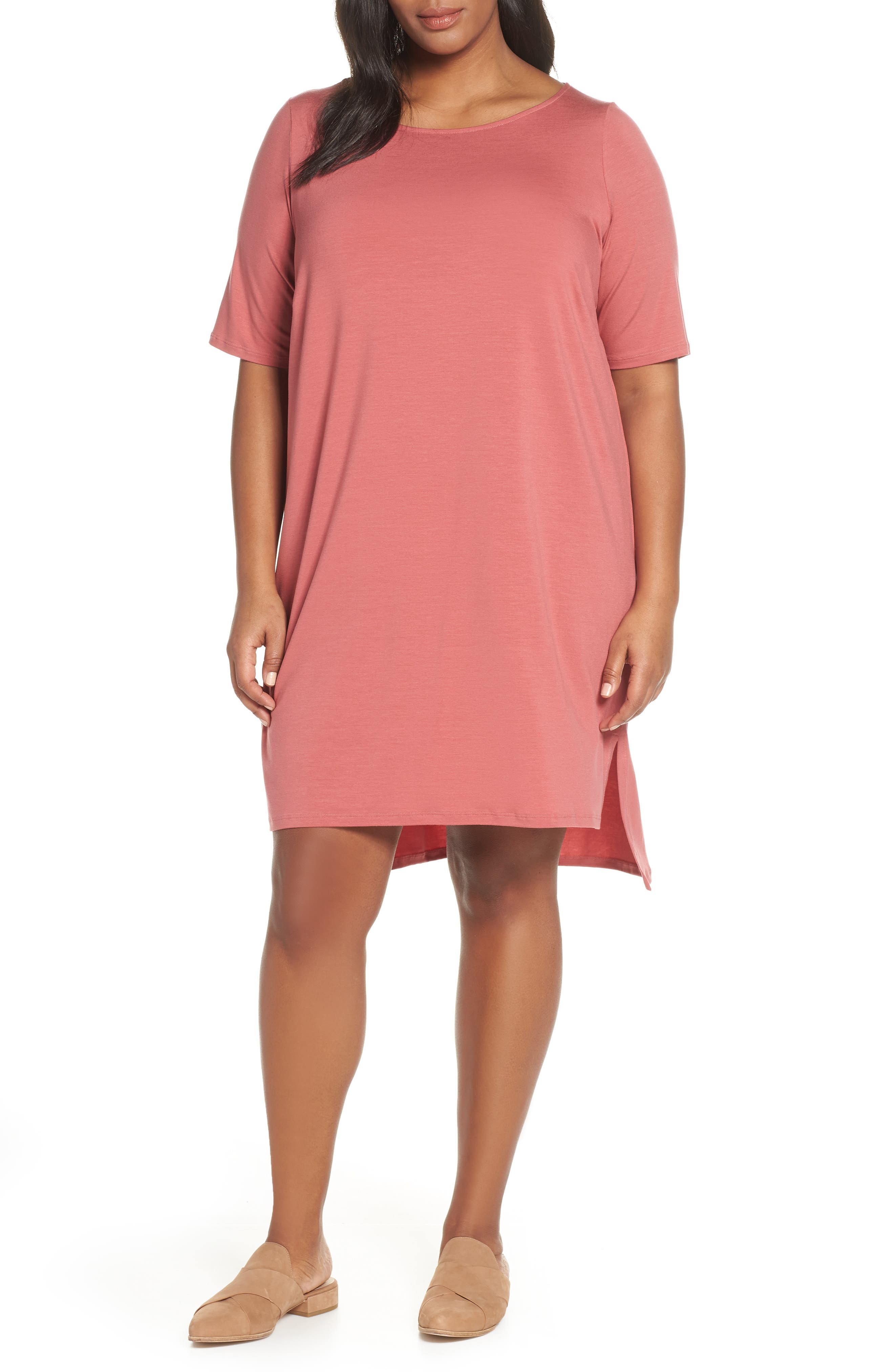 Plus Size Eileen Fisher Shift Dress, Orange