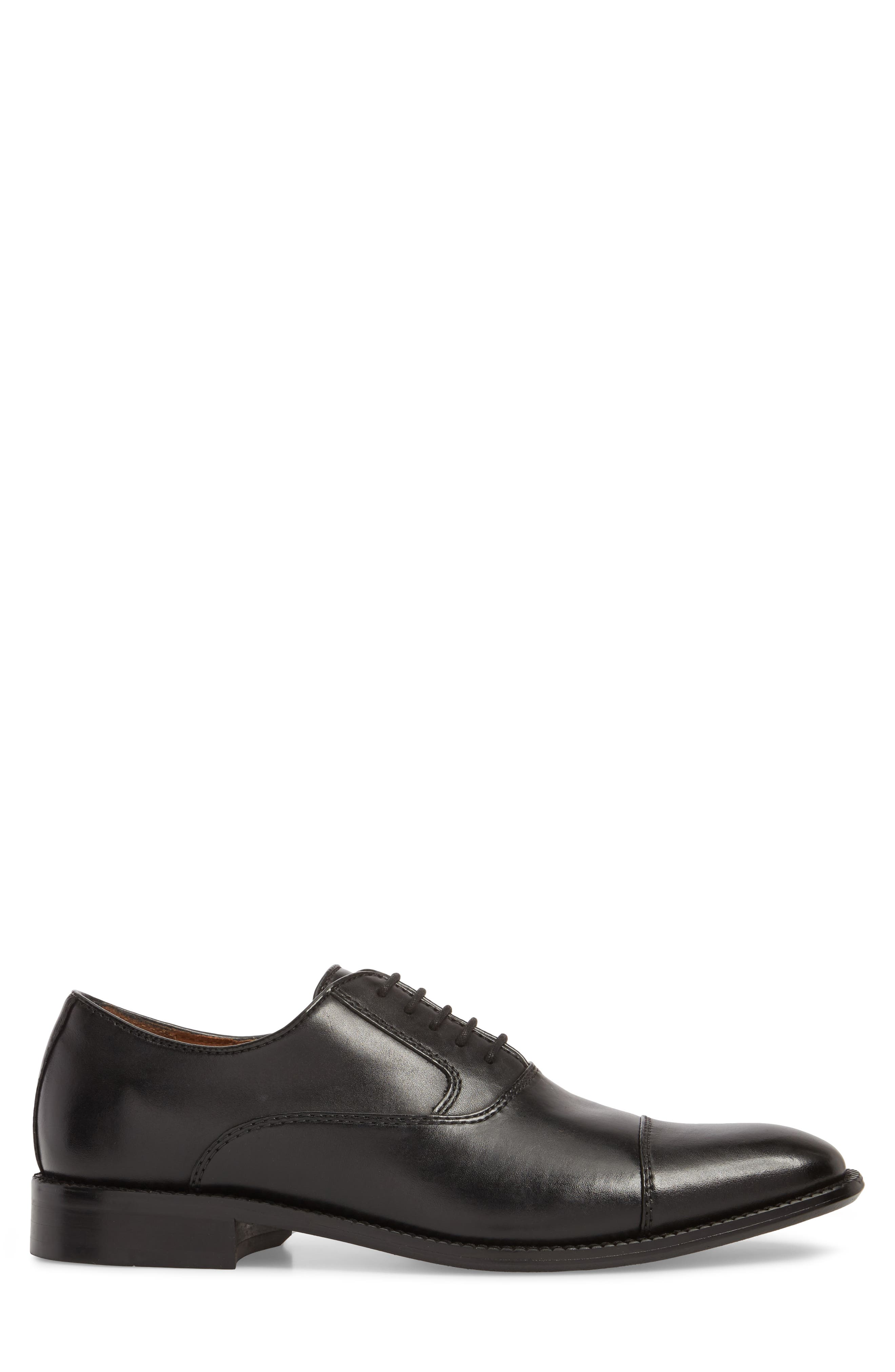 KENNETH COLE NEW YORK, Dice Cap Toe Oxford, Alternate thumbnail 3, color, BLACK LEATHER