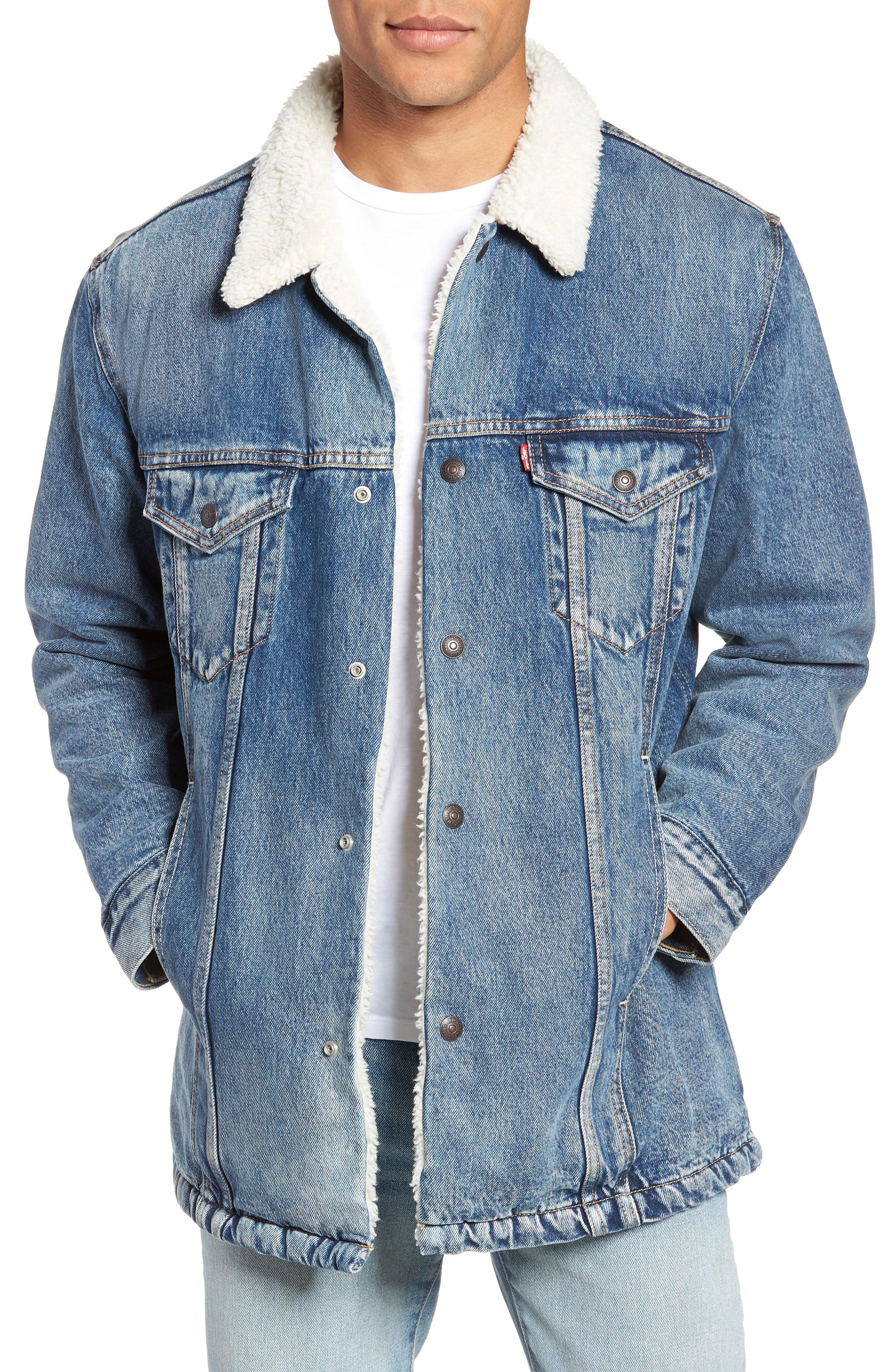 LEVI'S<SUP>®</SUP> Long Faux Fur Lined Trucker Jacket, Main, color, 420