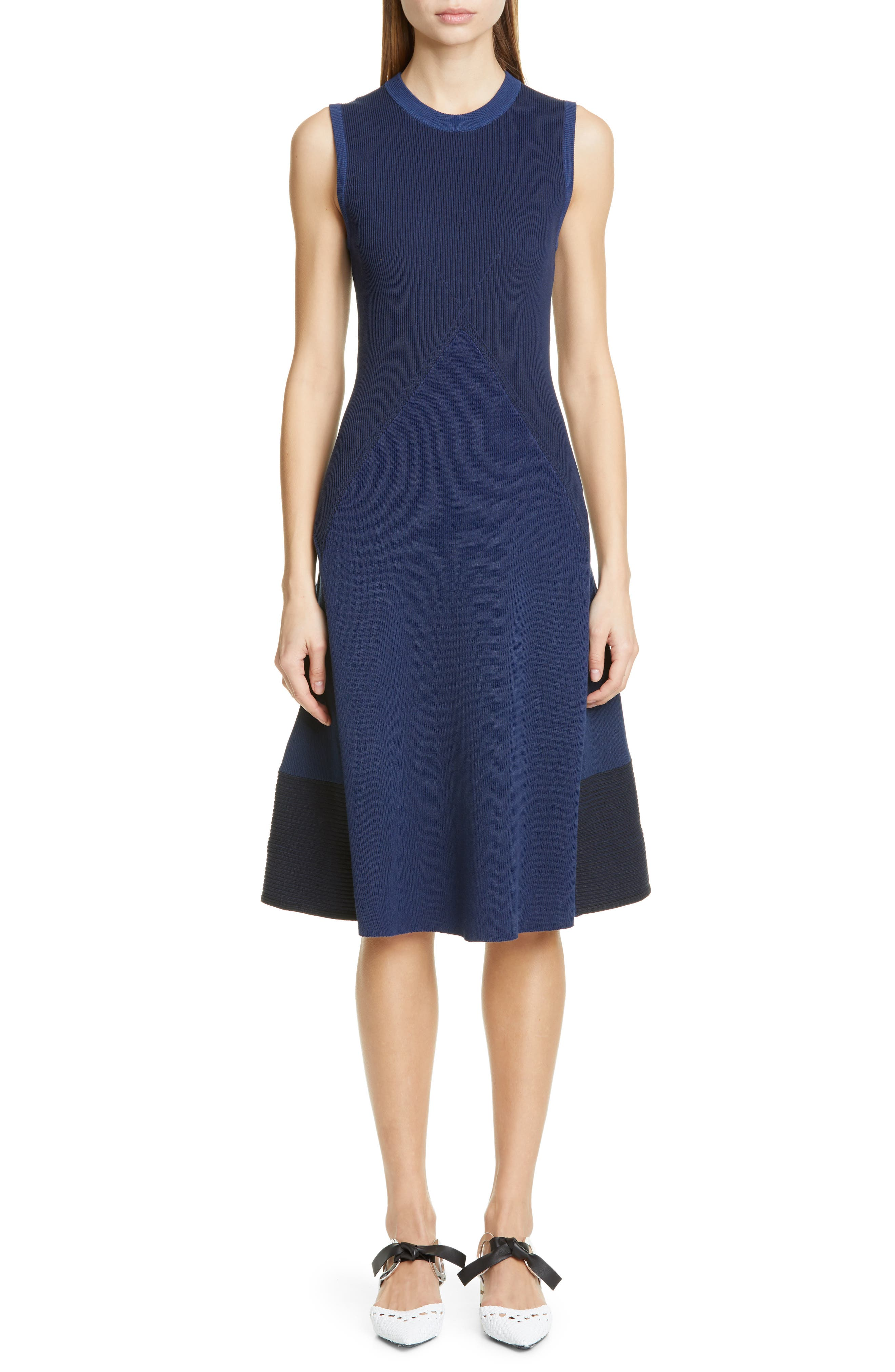 Proenza Schouler Mixed Stitch Colorblock Sweater Dress, Blue