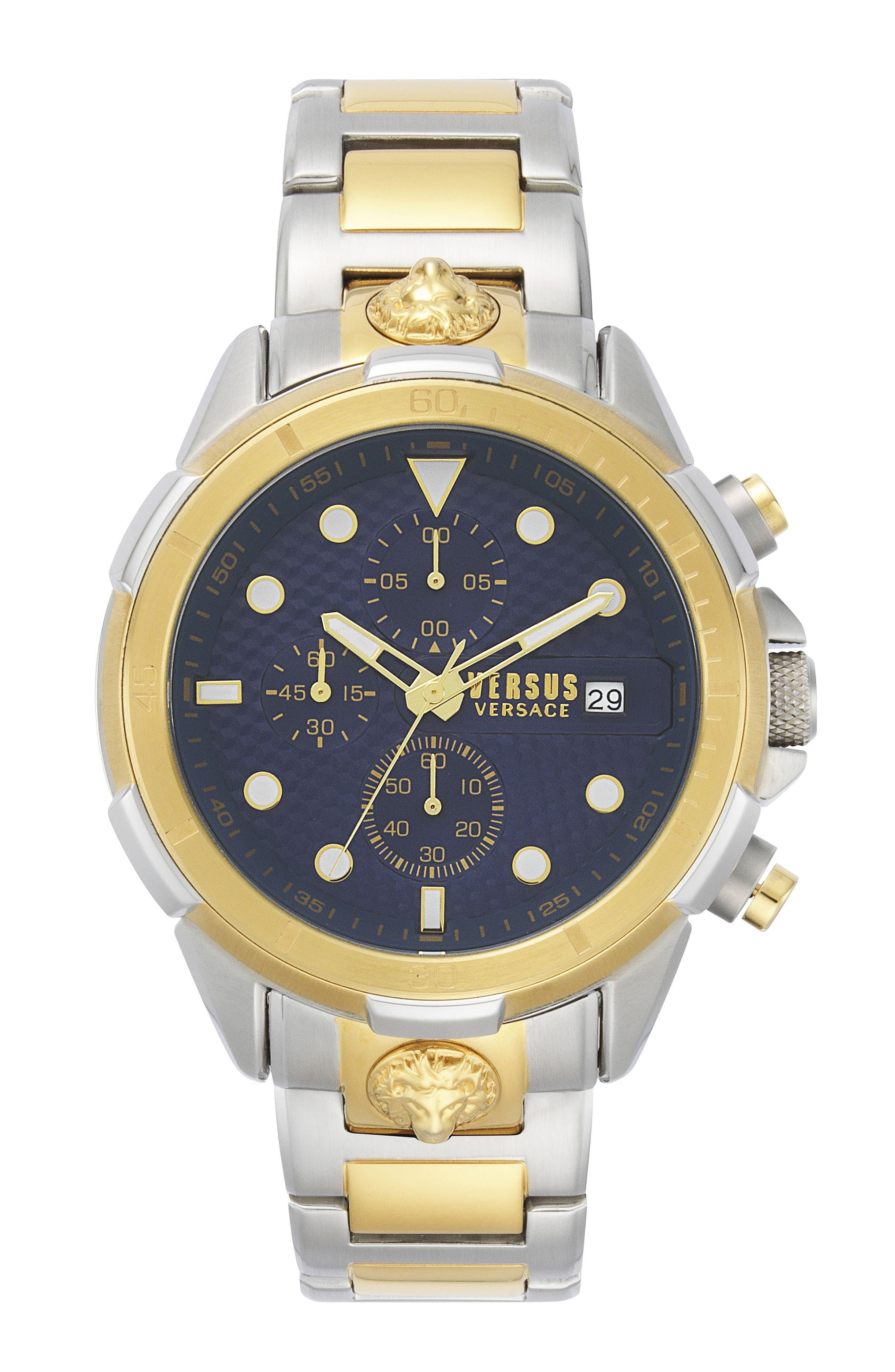 VERSUS VERSACE, Arrondissement Chronograph Bracelet Watch, 46mm, Main thumbnail 1, color, SILVER/ BLUE/ GOLD