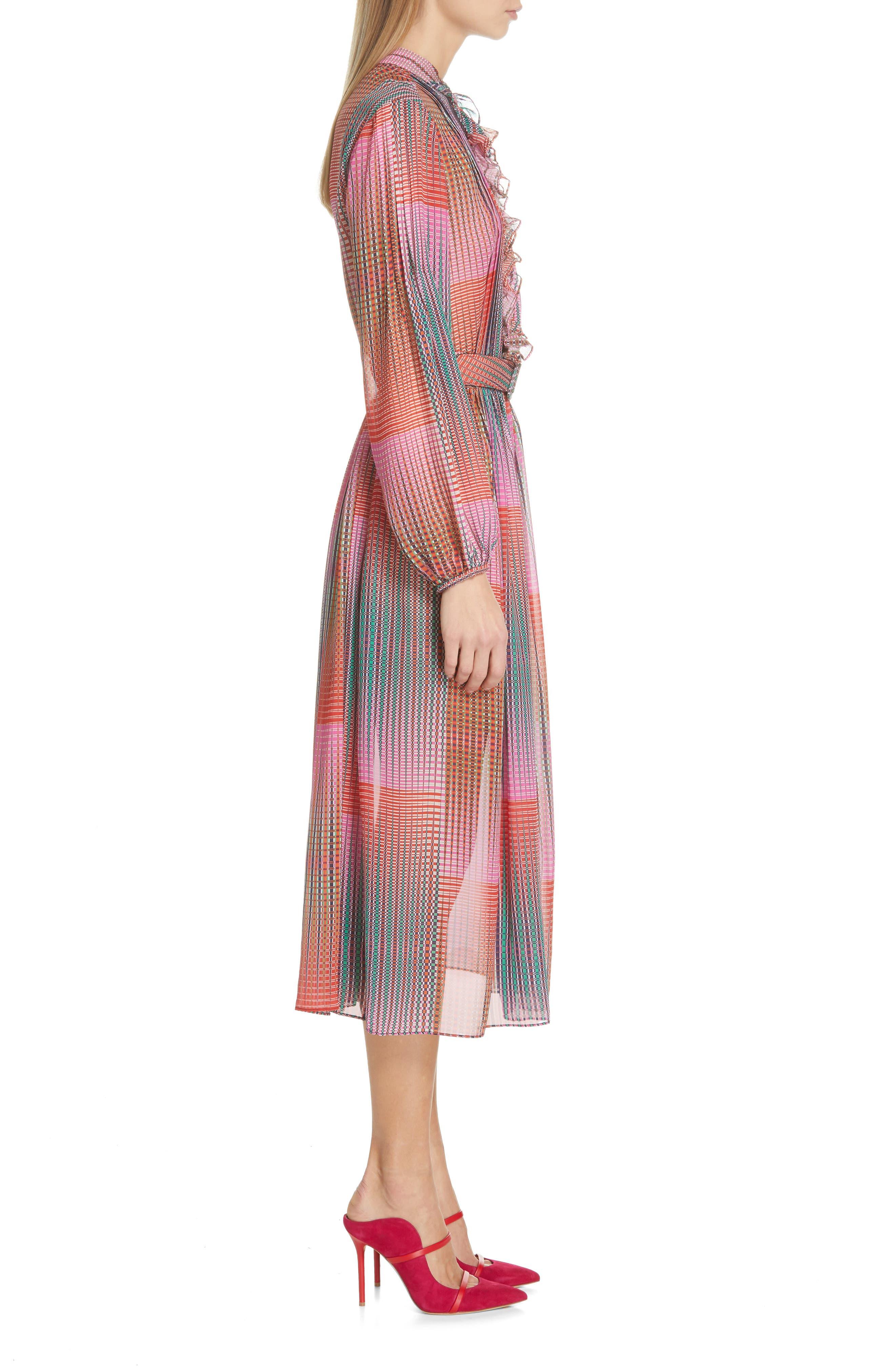 SALONI, Raquel Belted Silk Midi Dress, Alternate thumbnail 3, color, EMERALD ILLUSION