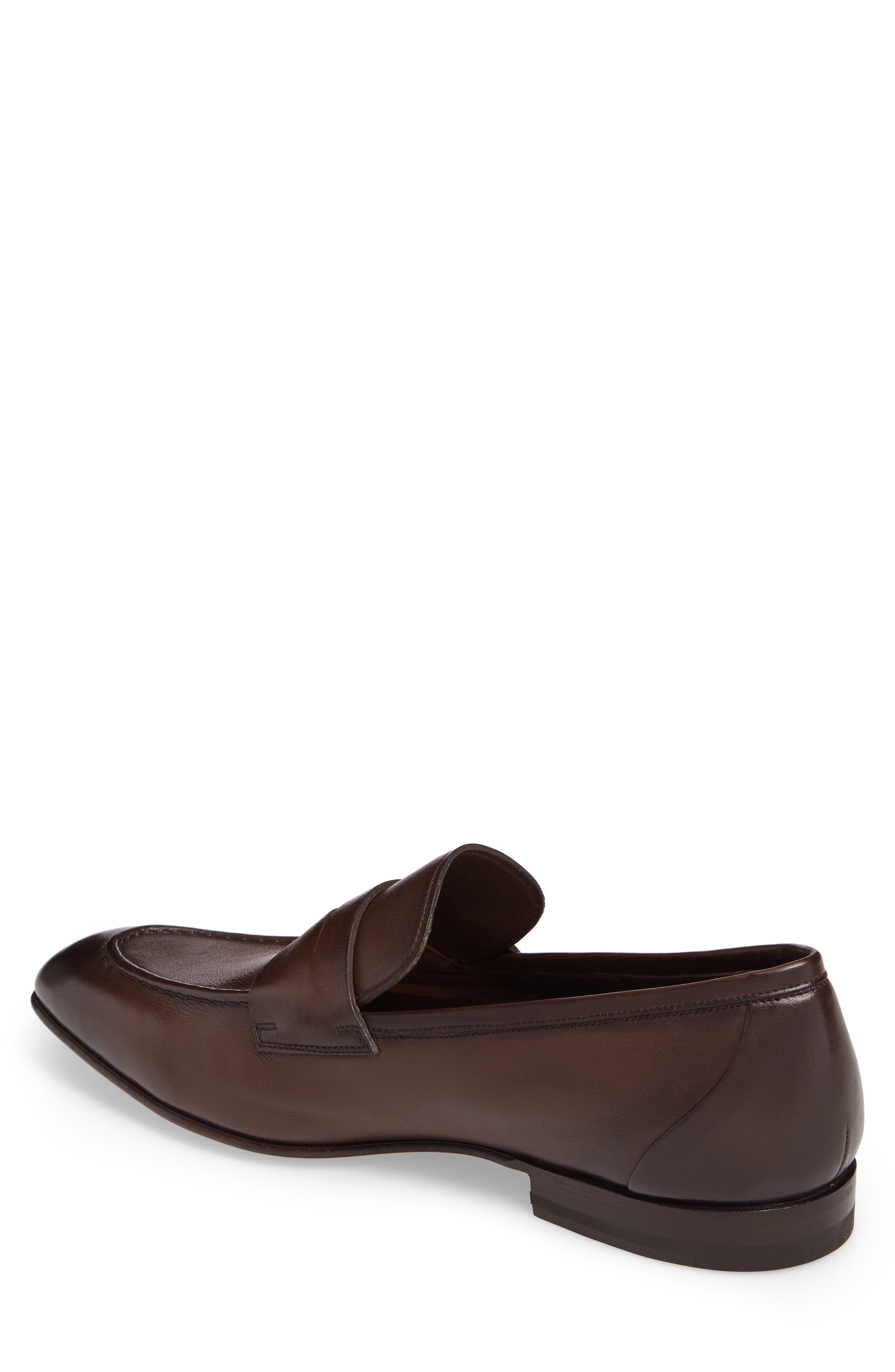 SANTONI, Gannon Penny Loafer, Alternate thumbnail 2, color, BROWN