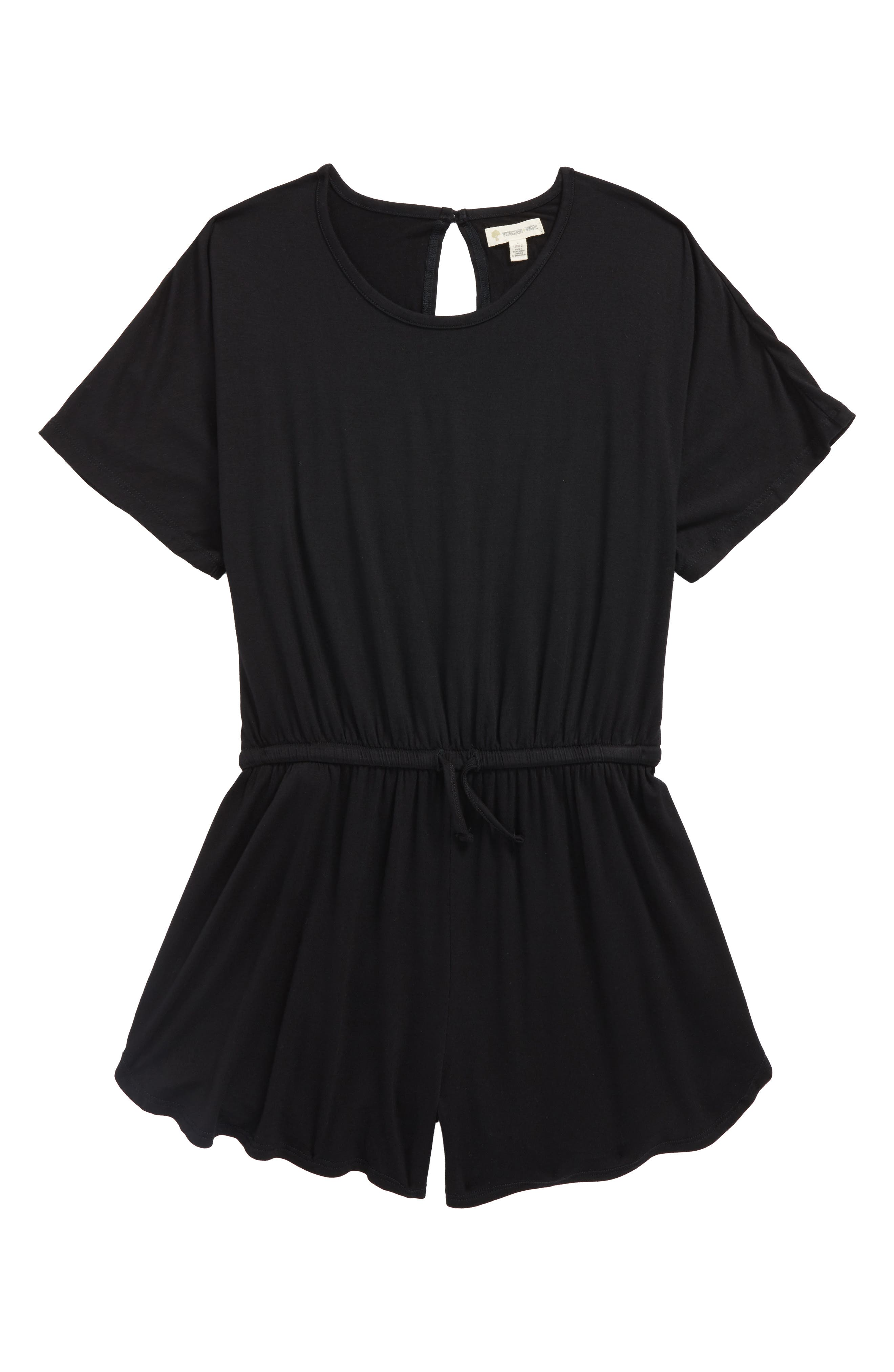TUCKER + TATE Knit Romper, Main, color, BLACK