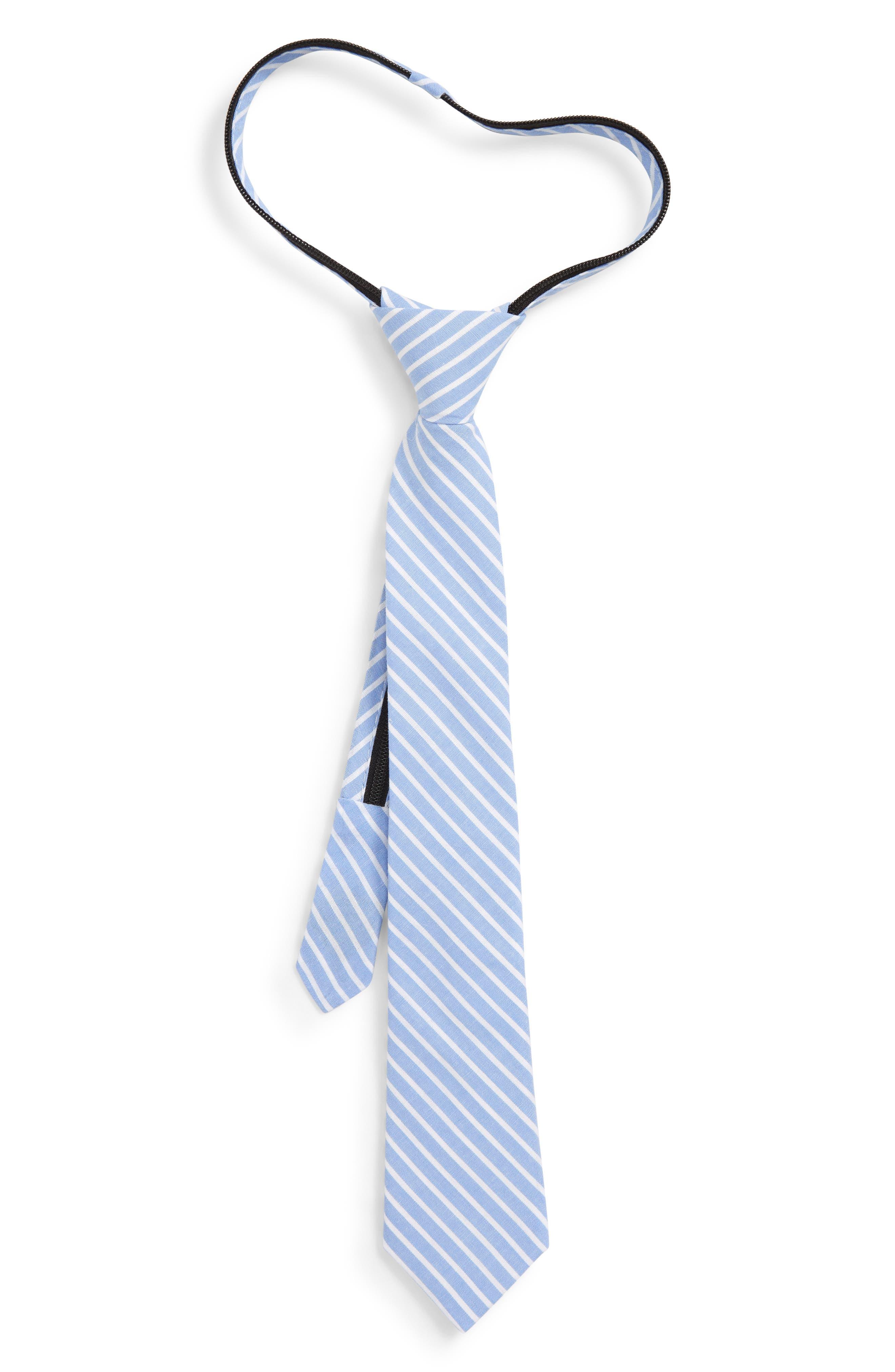 NORDSTROM, Jacob Solid Cotton Zipper Tie, Main thumbnail 1, color, 400