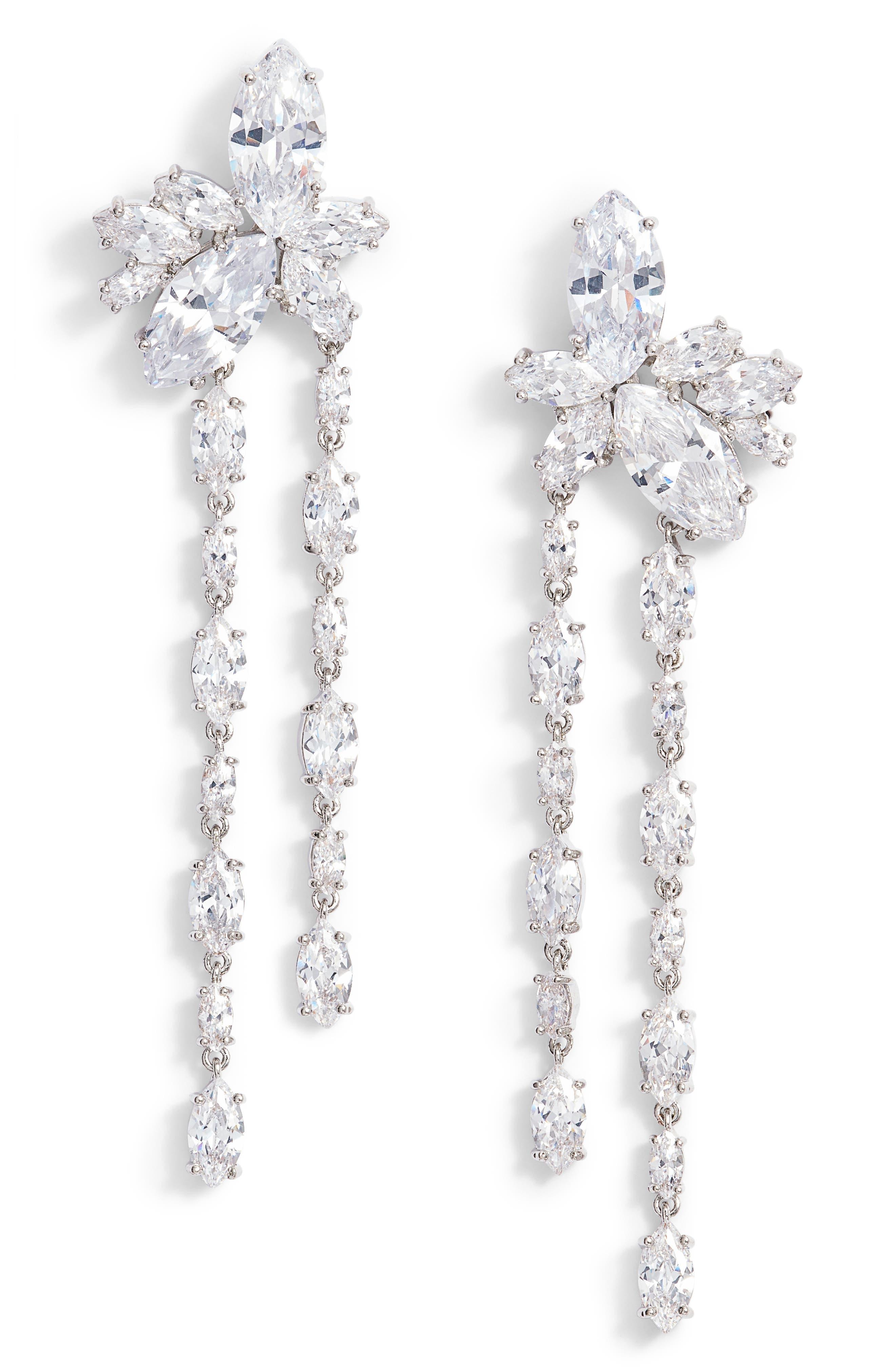 NINA, Floral Stone Cluster Drop Earrings, Main thumbnail 1, color, 040
