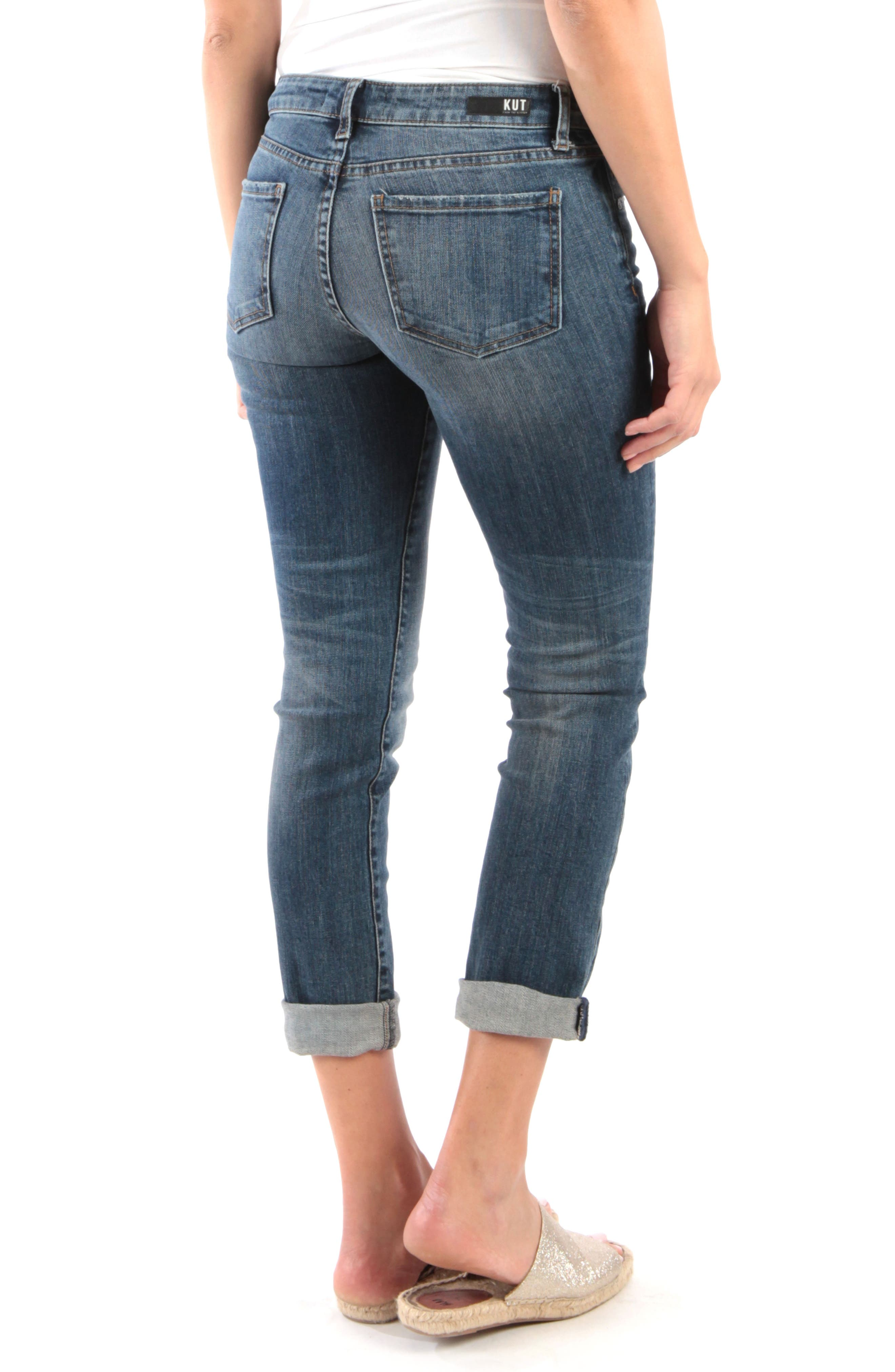 KUT FROM THE KLOTH, Catherine Distressed Roll Hem Crop Boyfriend Jeans, Alternate thumbnail 2, color, PARALLEL