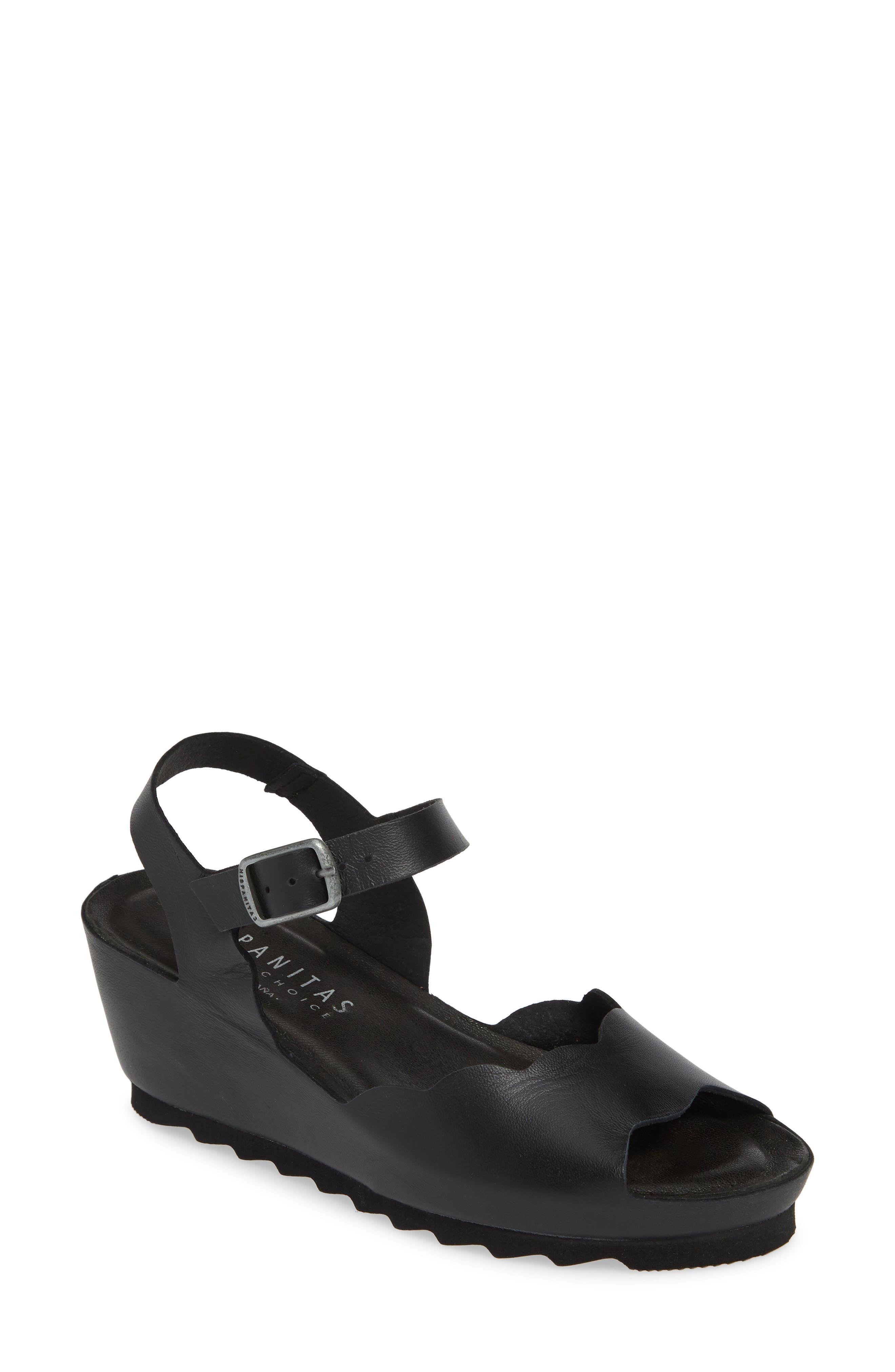 HISPANITAS Vanetta Wedge Sandal, Main, color, NAPA LAM BLACK LEATHER