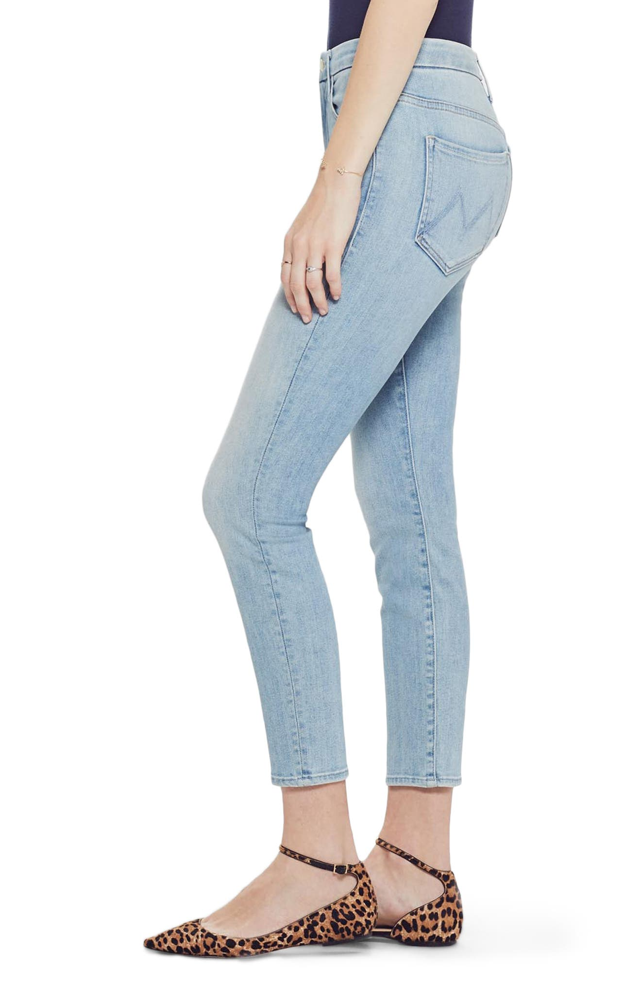 MOTHER, The Looker High Waist Crop Skinny Jeans, Alternate thumbnail 4, color, SWIMMING POOL SUNDAY