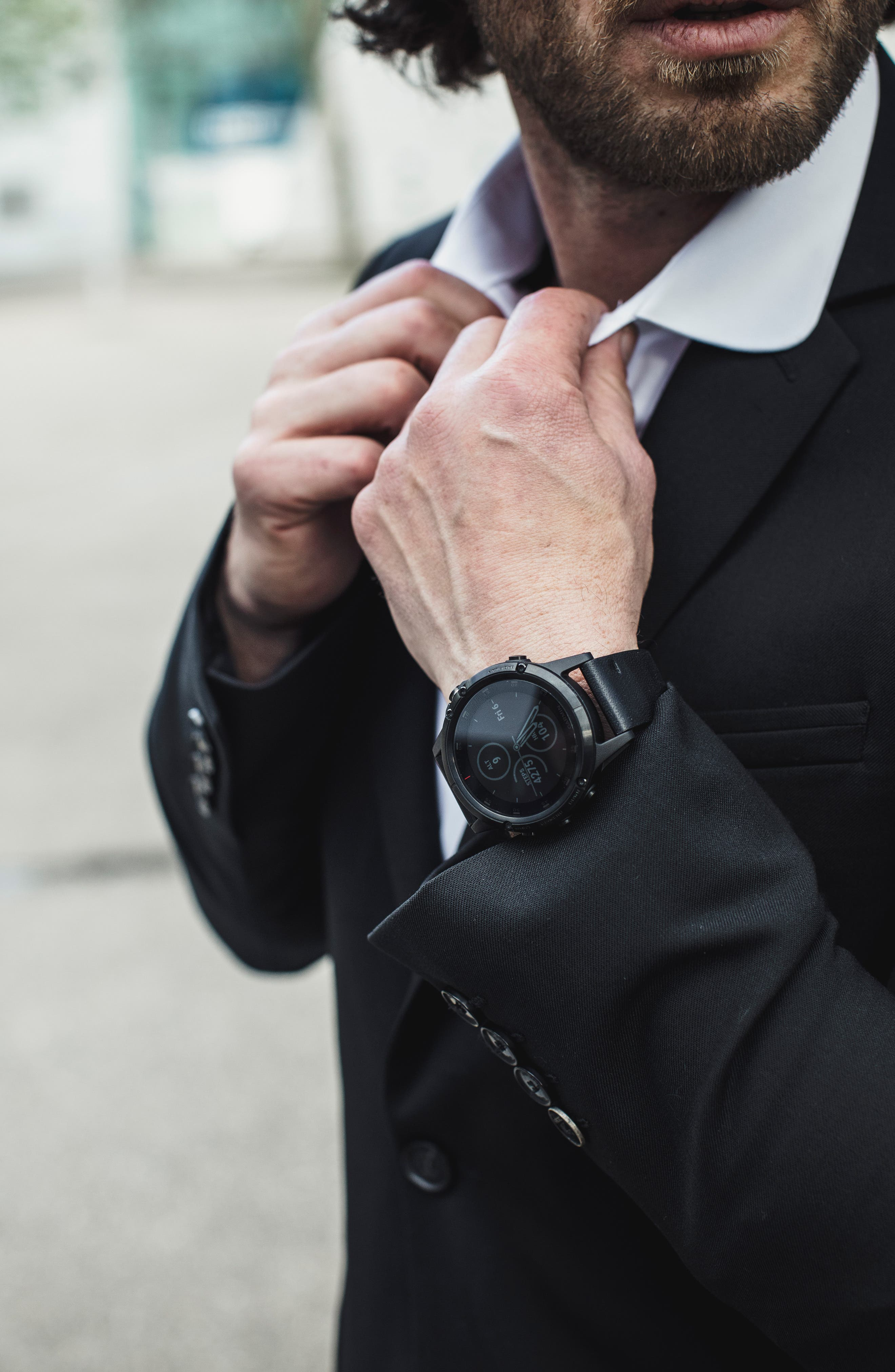 GARMIN, fenix<sup>®</sup> 5S Sapphire Premium Multisport GPS Watch, 51mm, Alternate thumbnail 9, color, BLACK
