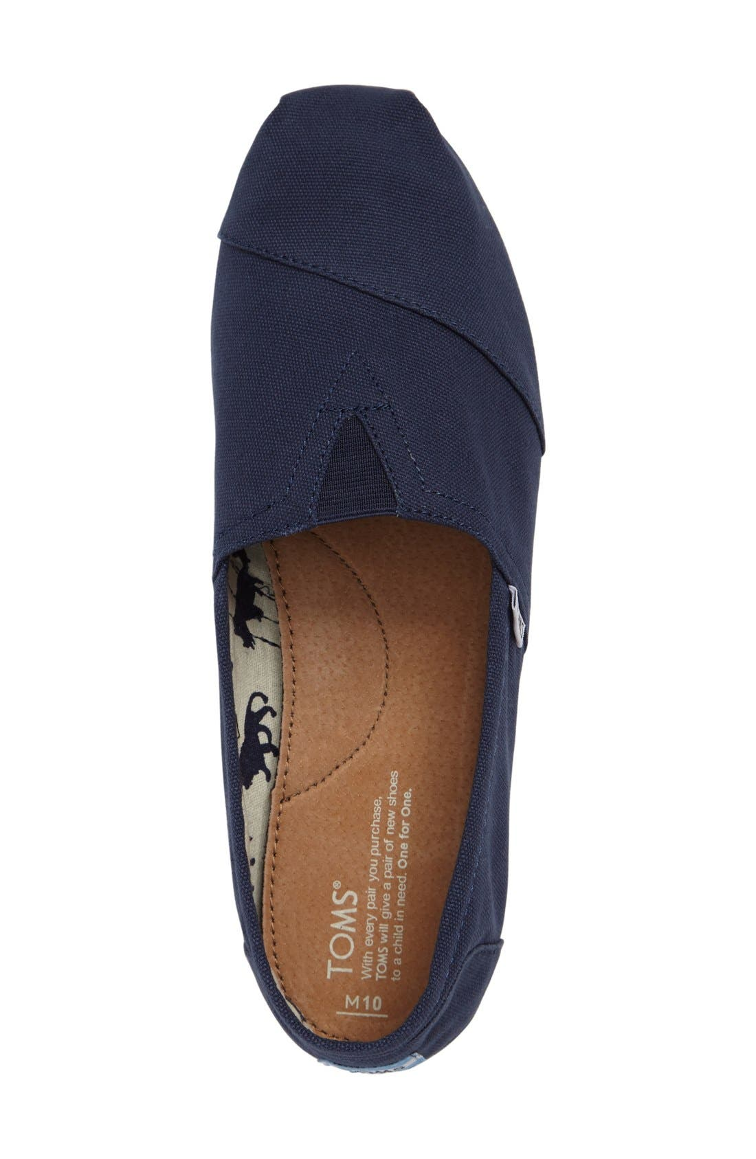 TOMS, 'Classic' Canvas Slip-On, Alternate thumbnail 9, color, NAVY