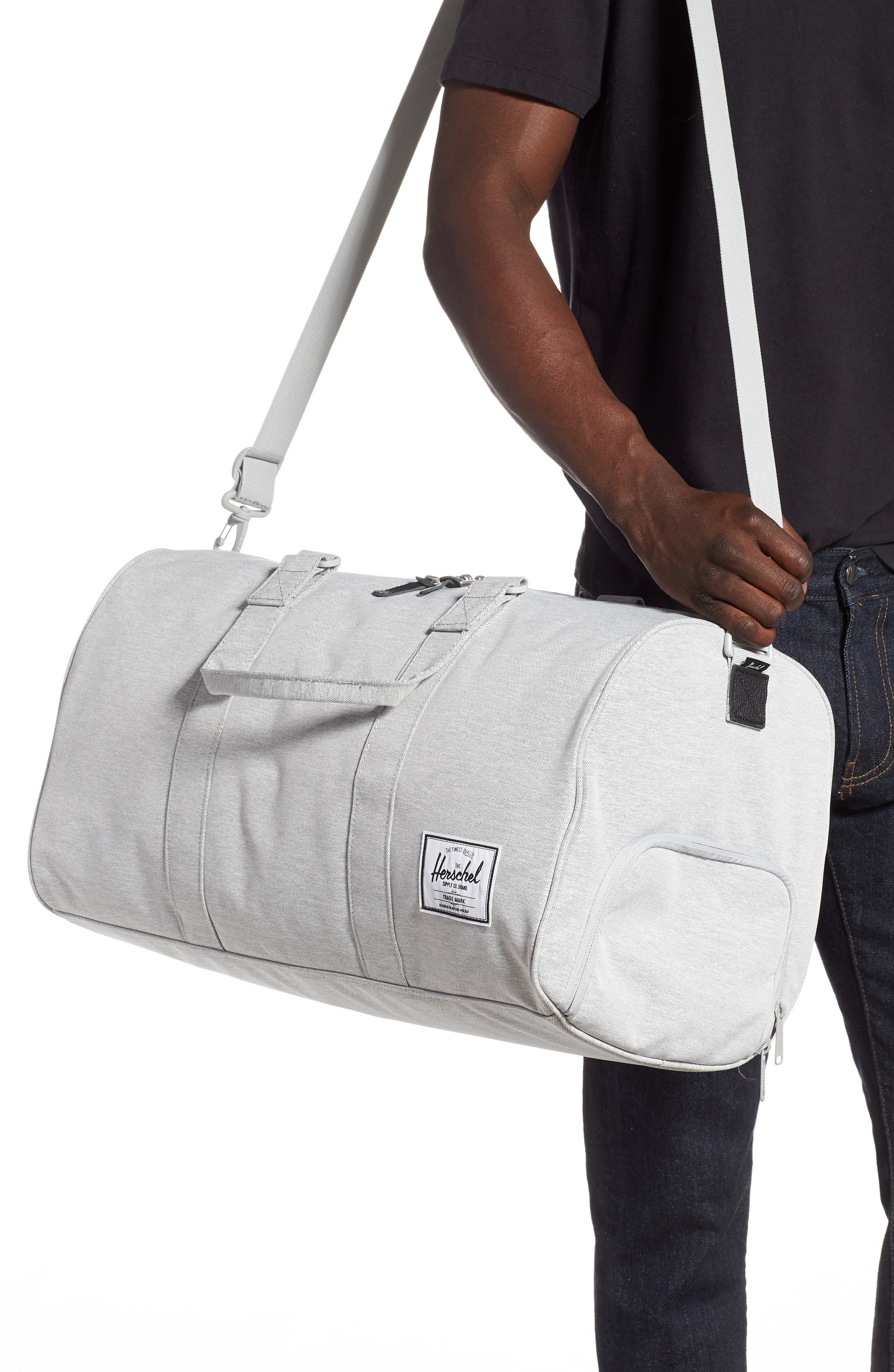 HERSCHEL SUPPLY CO., Novel Duffle Bag, Alternate thumbnail 2, color, LIGHT GREY CROSSHATCH