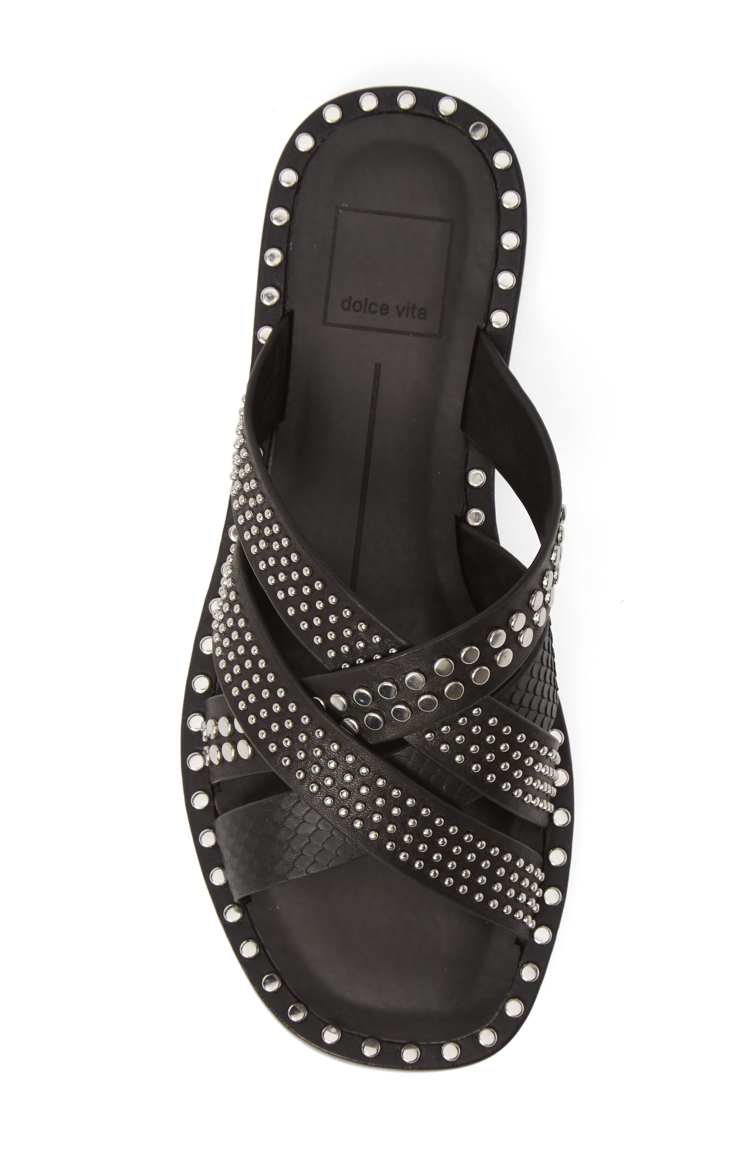 DOLCE VITA, Corbey Studded Slide Sandal, Alternate thumbnail 5, color, BLACK LEATHER