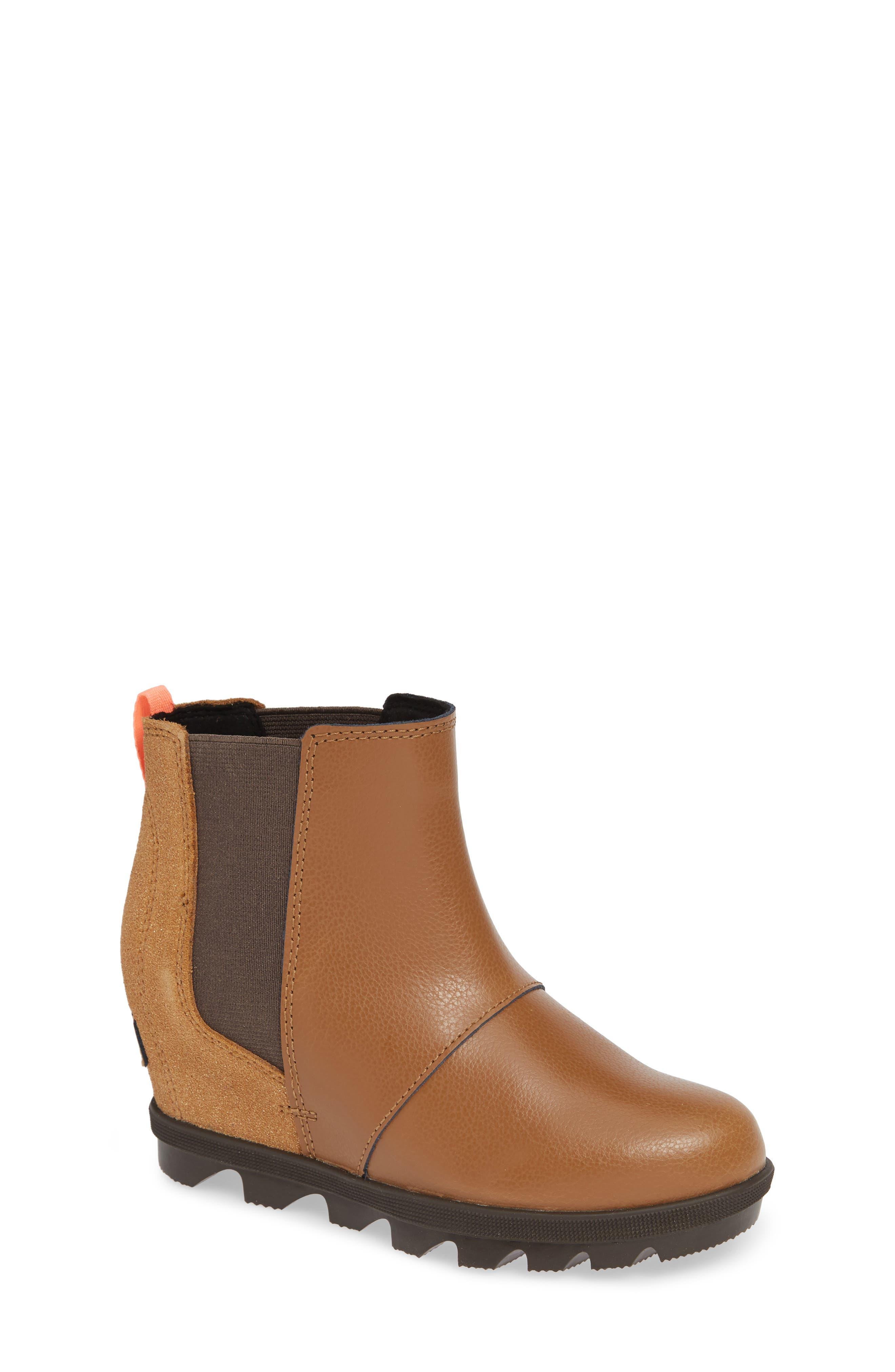 SOREL, Joan of Arc II Waterproof Wedge Chelsea Boot, Main thumbnail 1, color, CAMEL BROWN