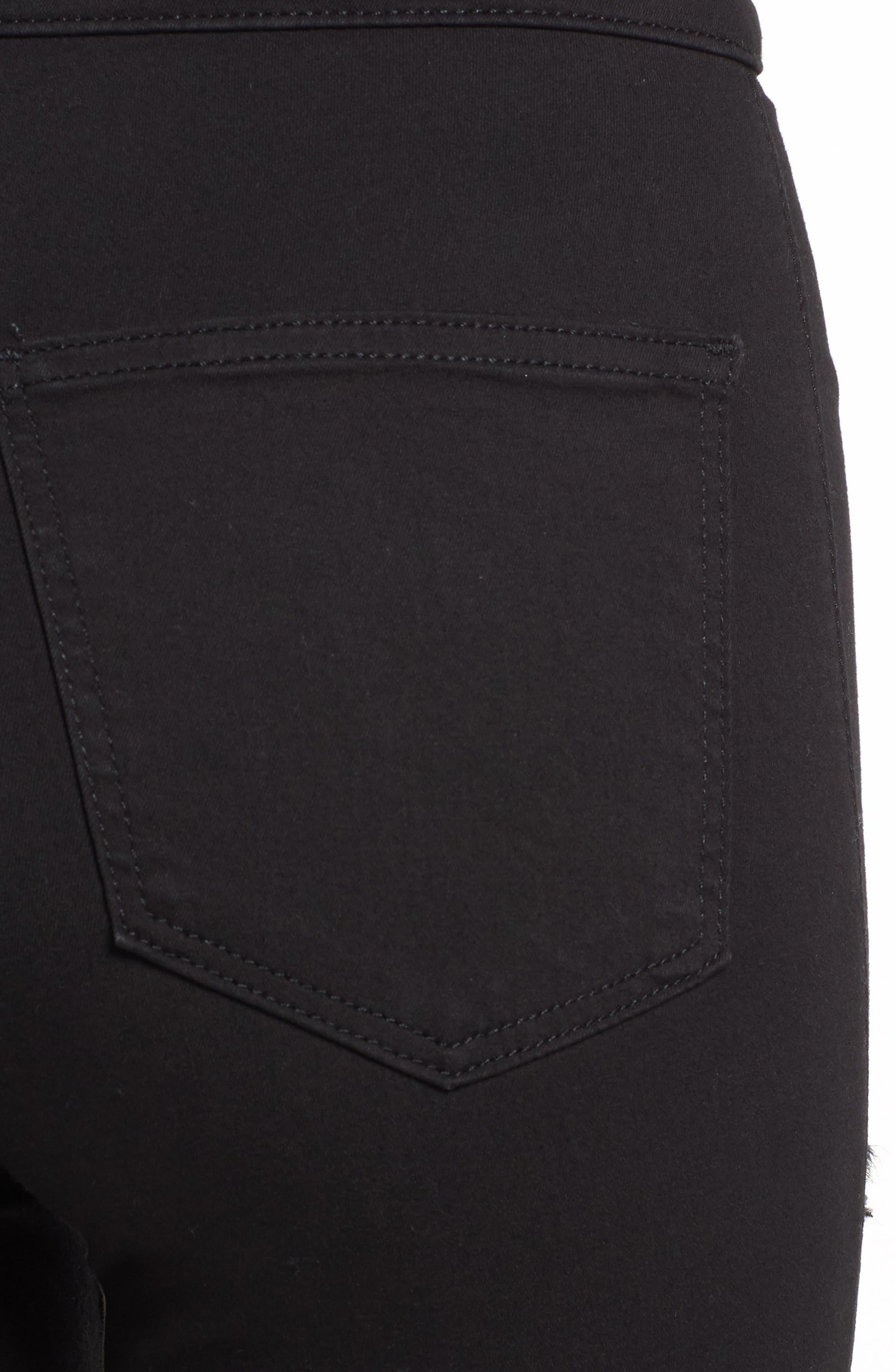 TOPSHOP, MOTO Joni Ripped Skinny Jeans, Alternate thumbnail 5, color, 001
