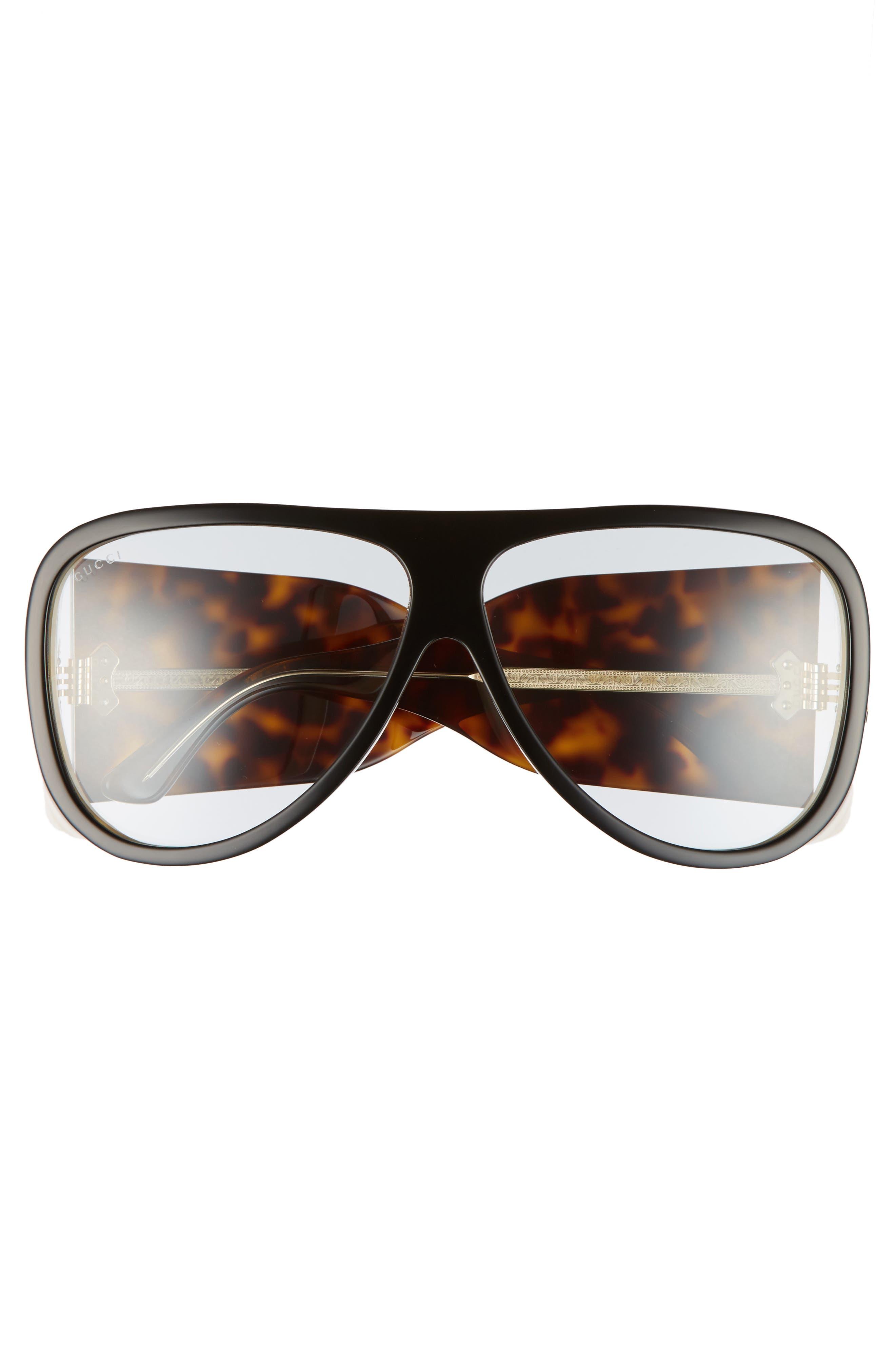 GUCCI, 63mm Oversize Aviator Sunglasses, Alternate thumbnail 3, color, BLACK