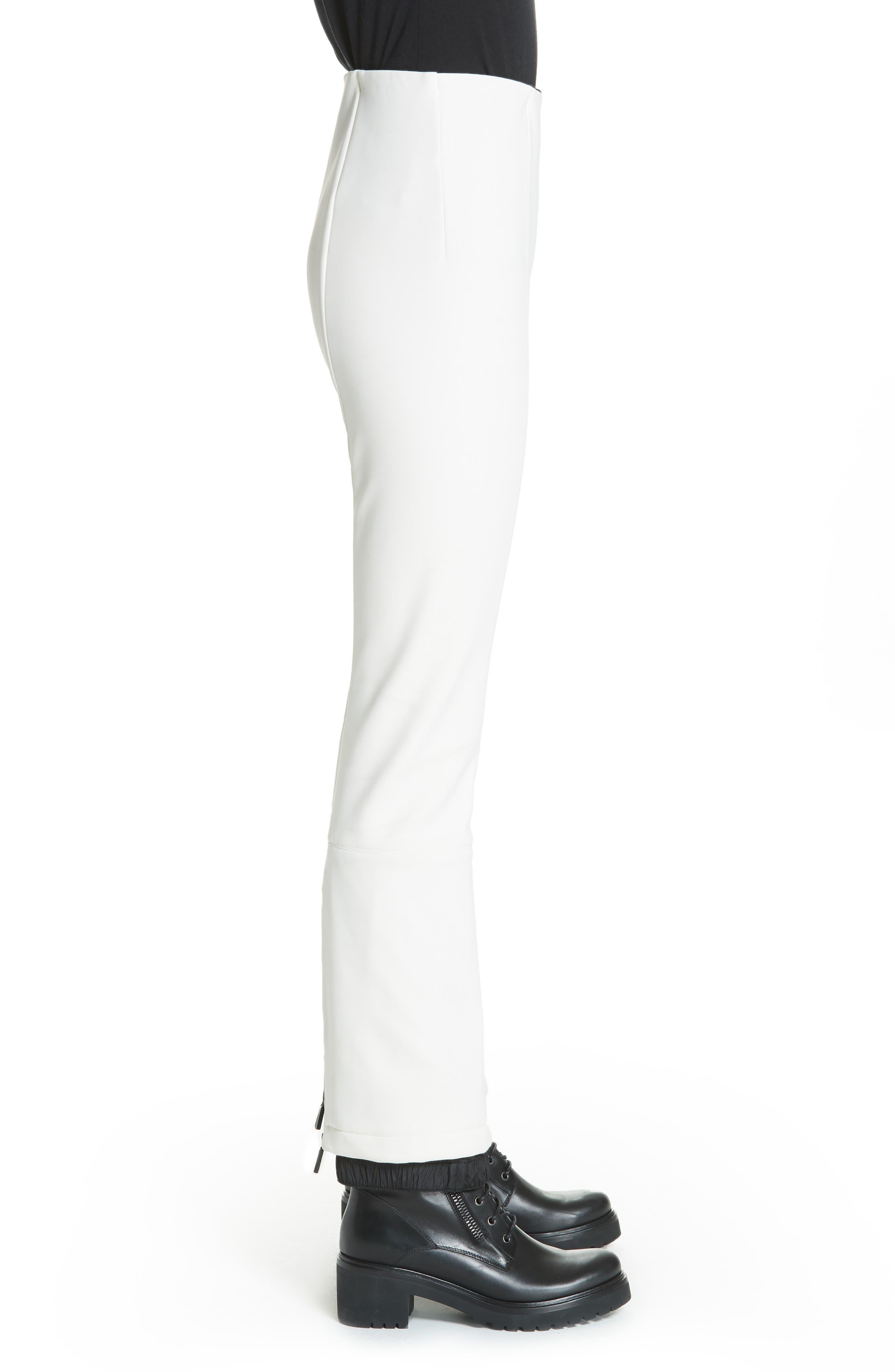 MONCLER, Skinny Stretch Ski Pants, Alternate thumbnail 3, color, WHITE