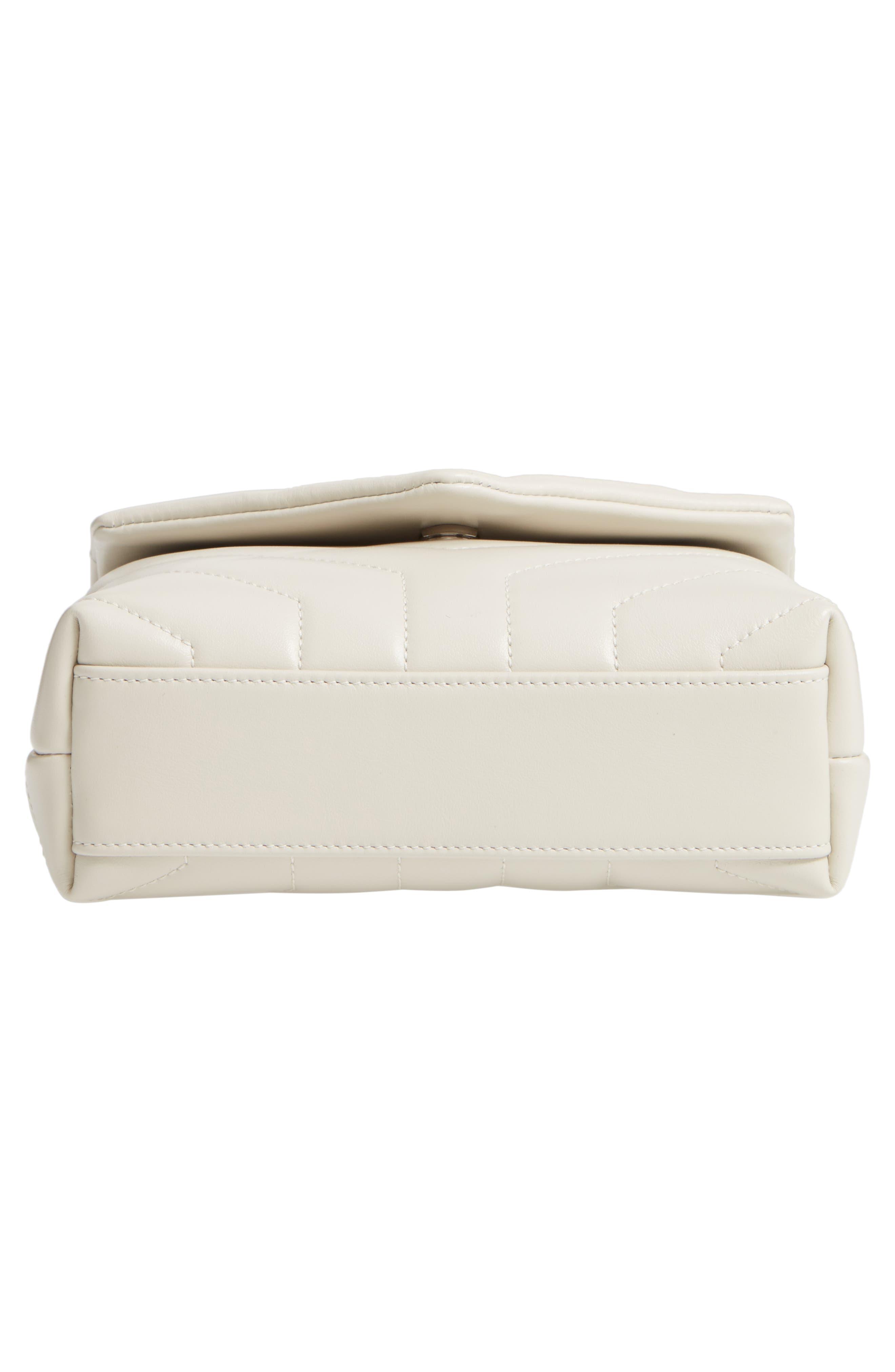 SAINT LAURENT, Toy Loulou Calfskin Leather Crossbody Bag, Alternate thumbnail 6, color, CREMA SOFT