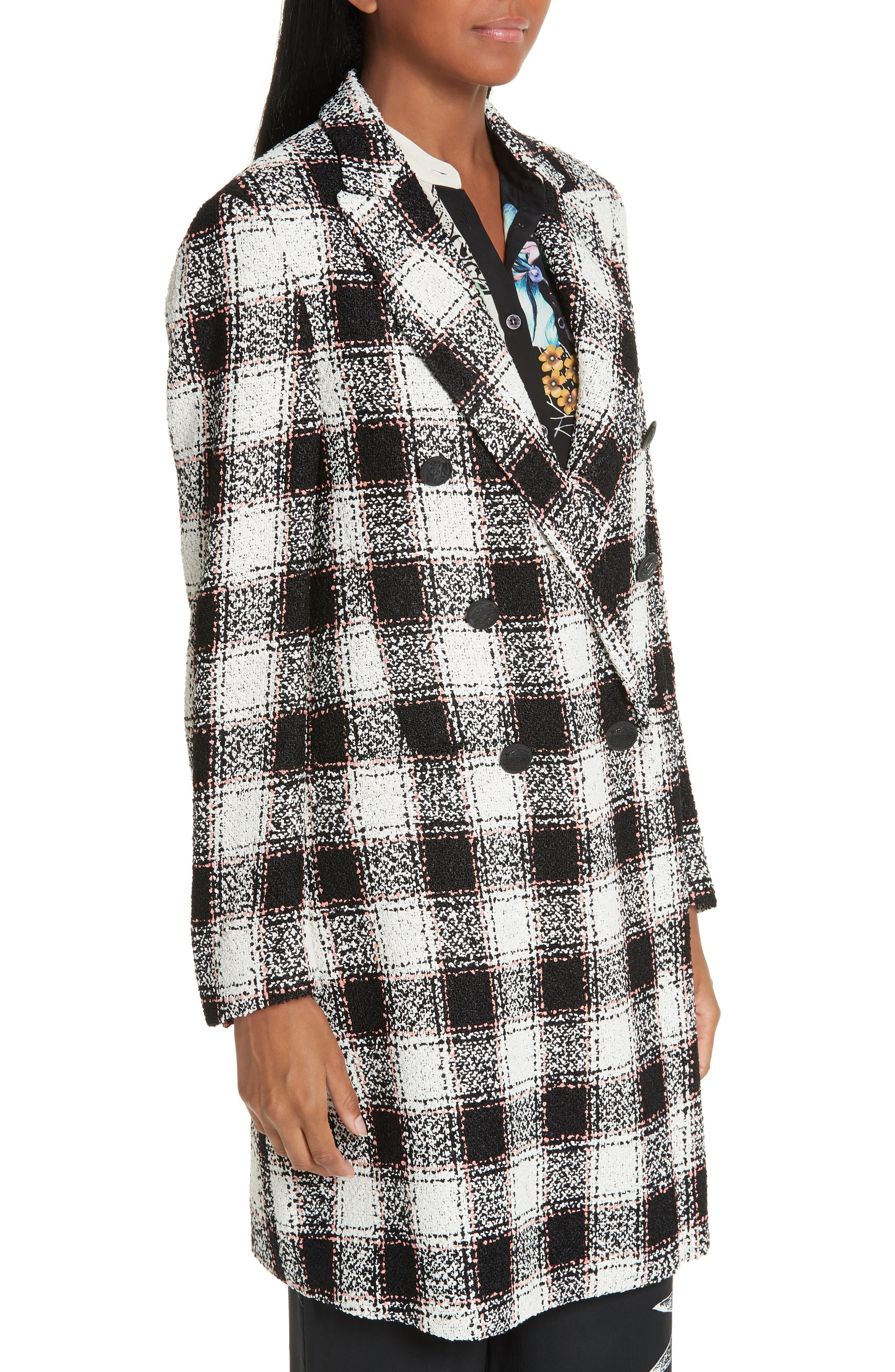 ETRO, Double Breasted Checked Tweed Jacket, Alternate thumbnail 4, color, WHITE