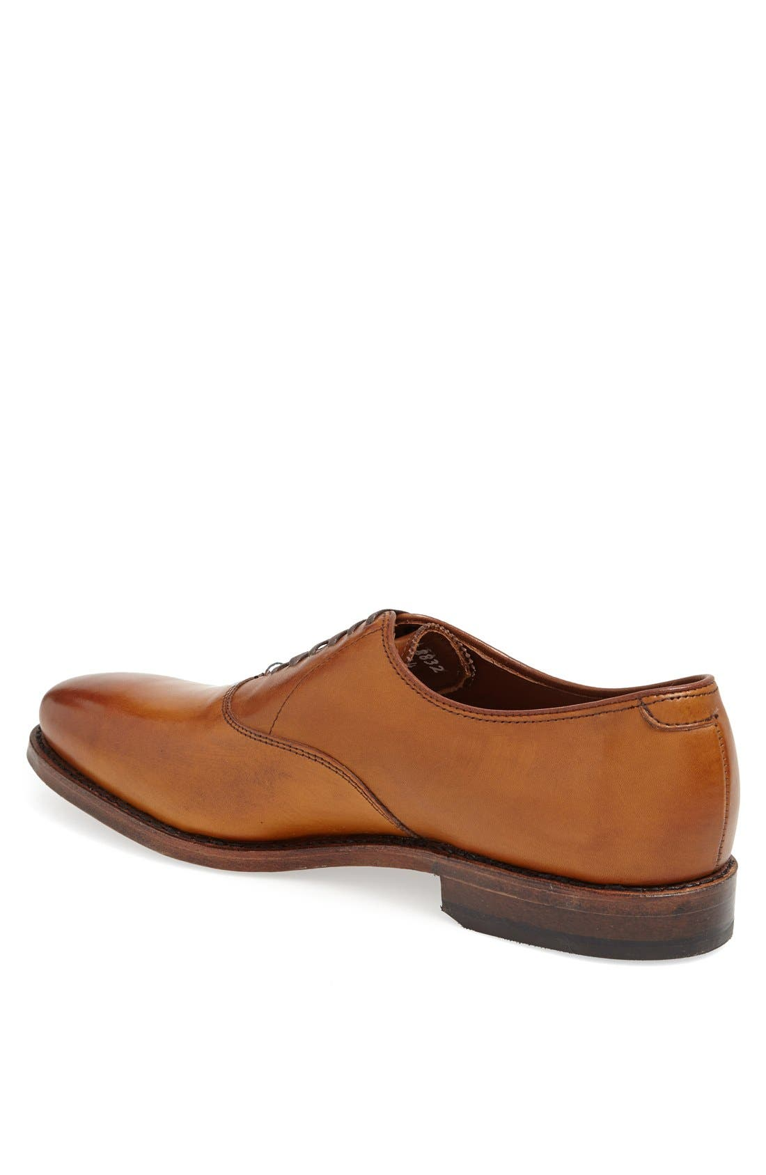 ALLEN EDMONDS, Carlyle Plain Toe Oxford, Alternate thumbnail 2, color, WALNUT LEATHER