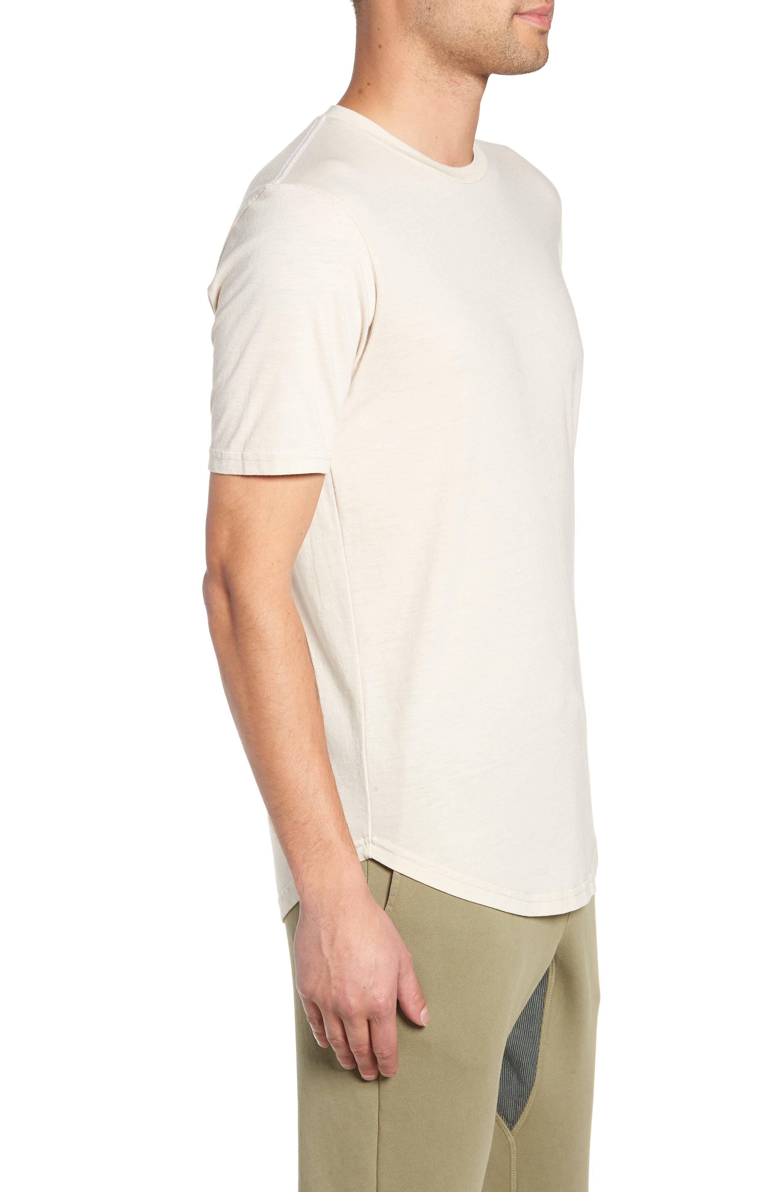 GOODLIFE, Scallop Triblend Crewneck T-Shirt, Alternate thumbnail 3, color, OYSTER
