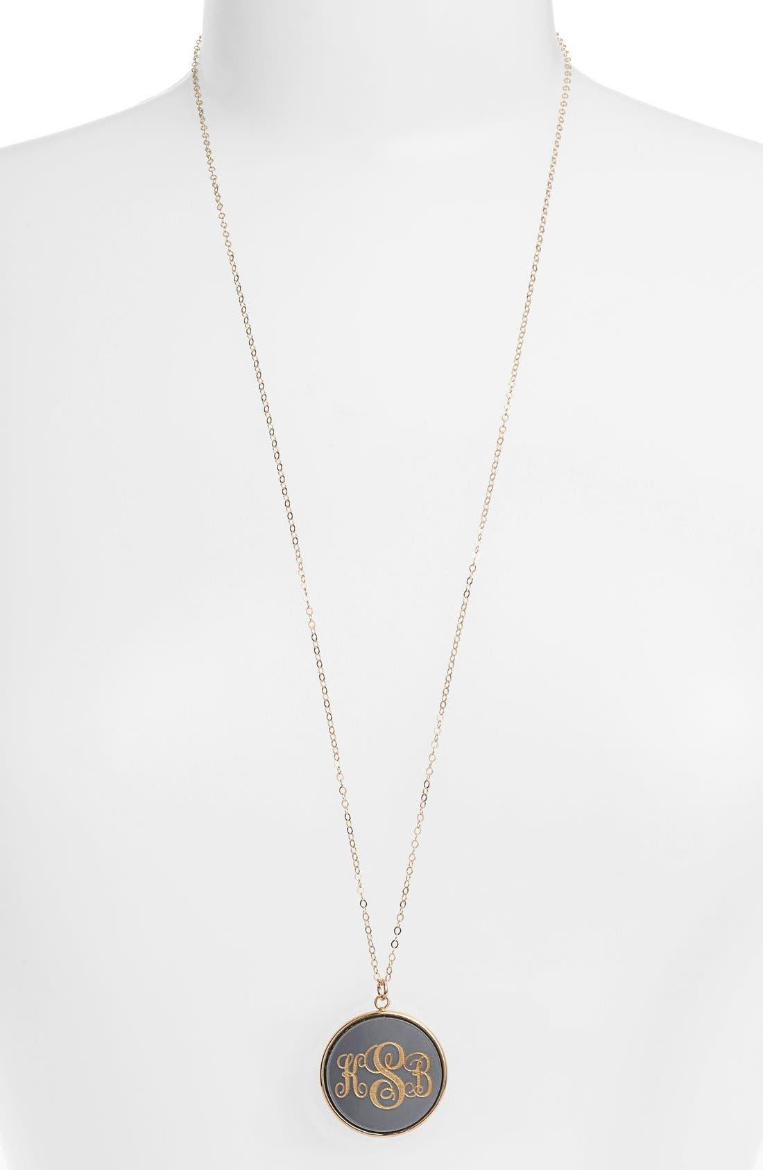MOON AND LOLA 'Vineyard' Personalized Monogram Pendant Necklace, Main, color, GUNMETAL