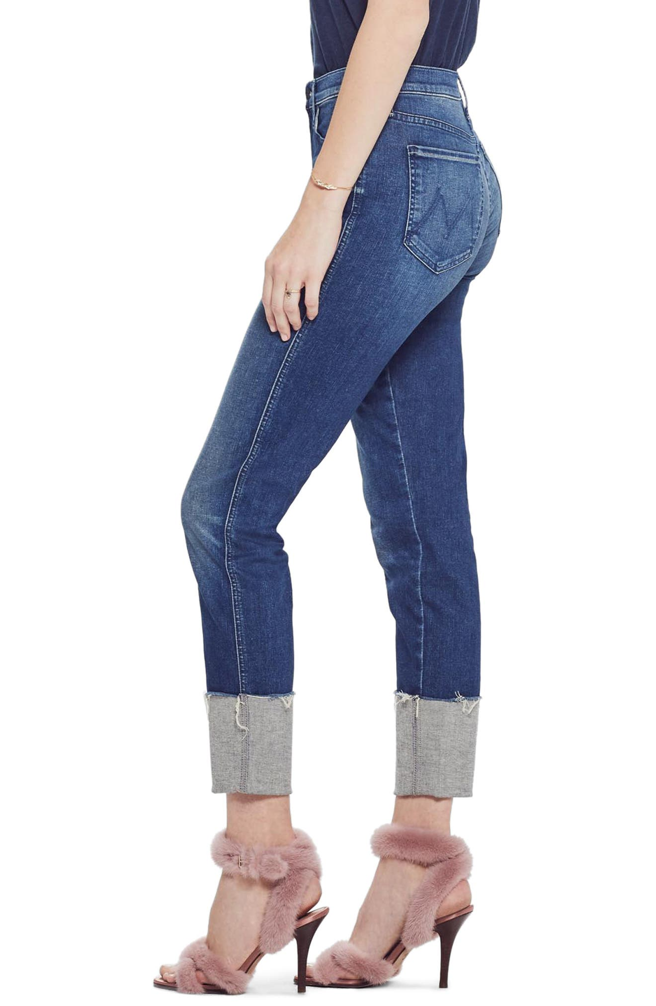 MOTHER, The Pony Boy Frayed Ankle Tapered Jeans, Alternate thumbnail 4, color, LURE ME IN