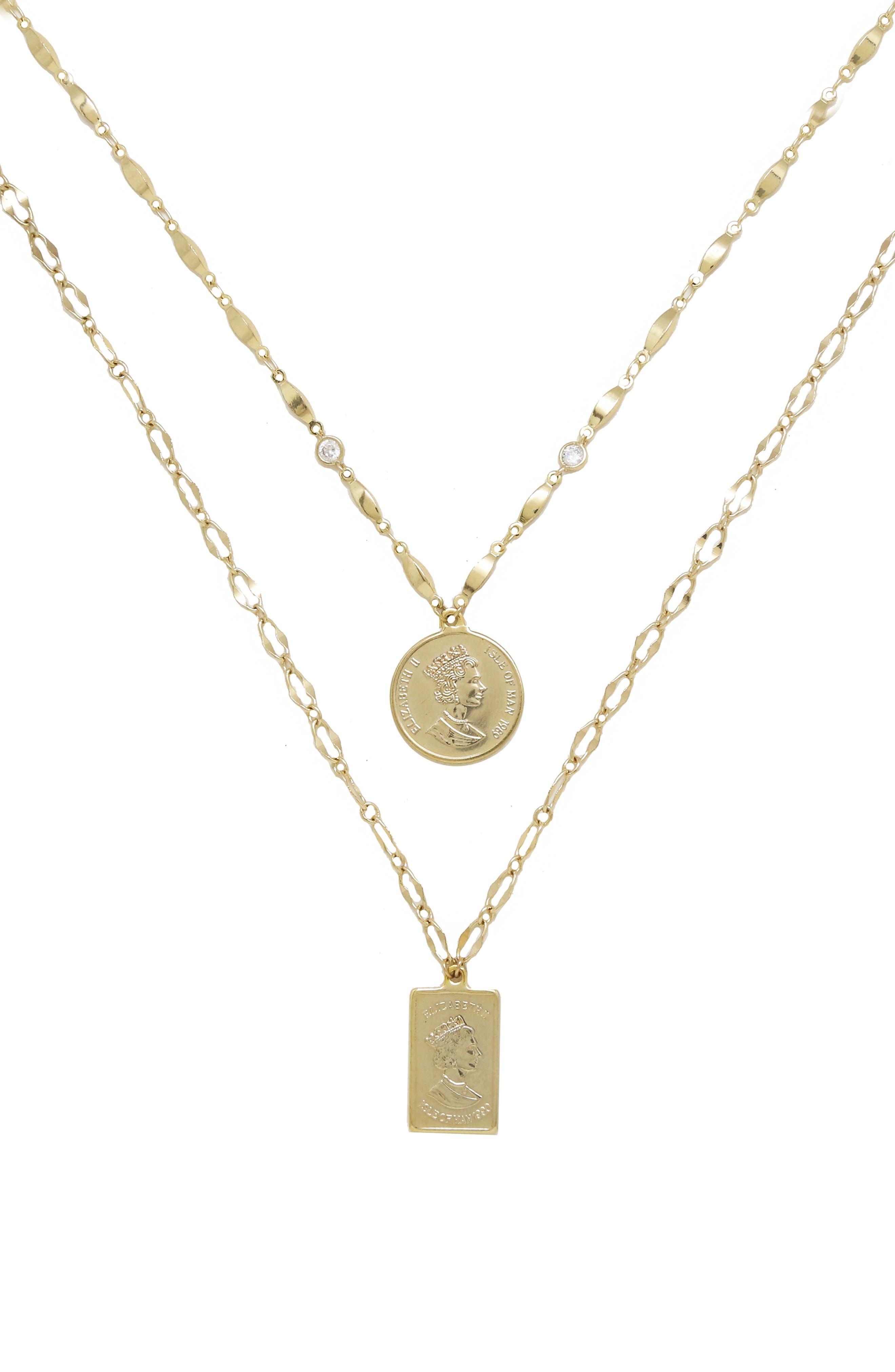 ETTIKA, Set of 2 Pendant Necklaces, Main thumbnail 1, color, GOLD