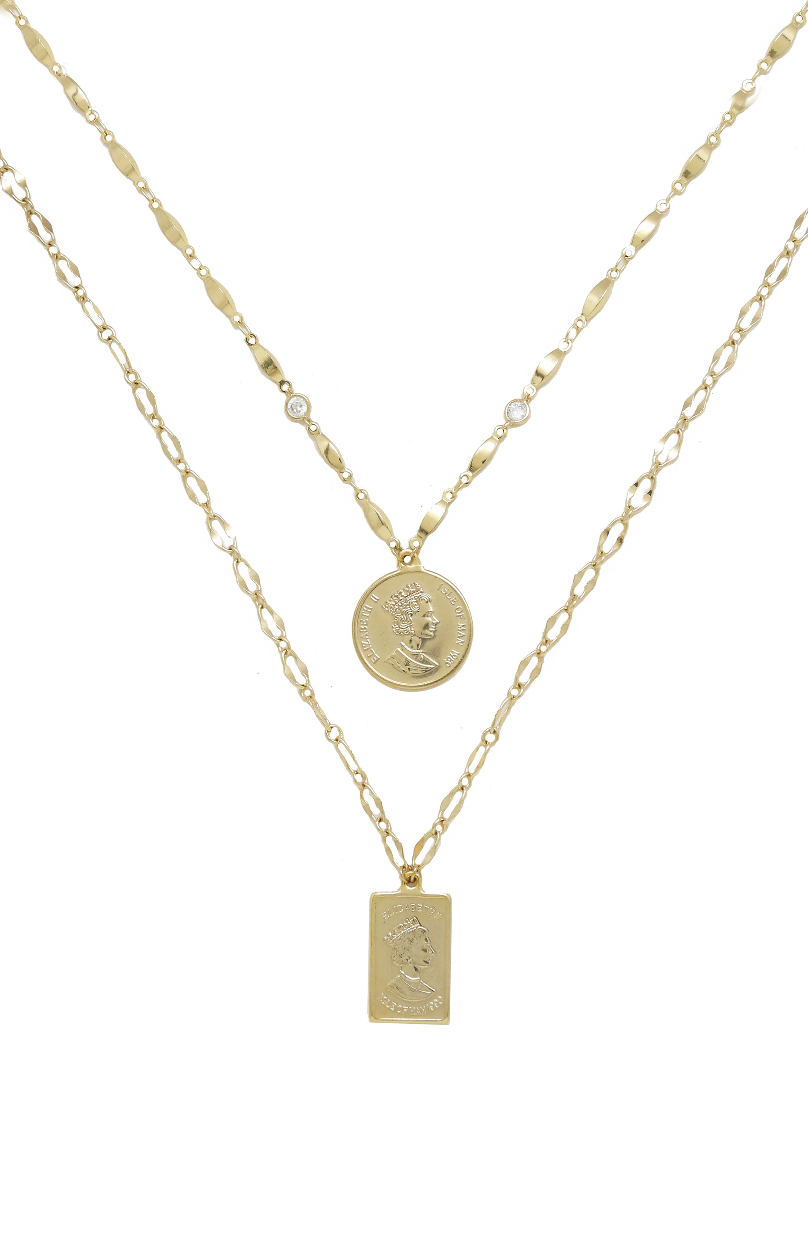 ETTIKA Set of 2 Pendant Necklaces, Main, color, GOLD