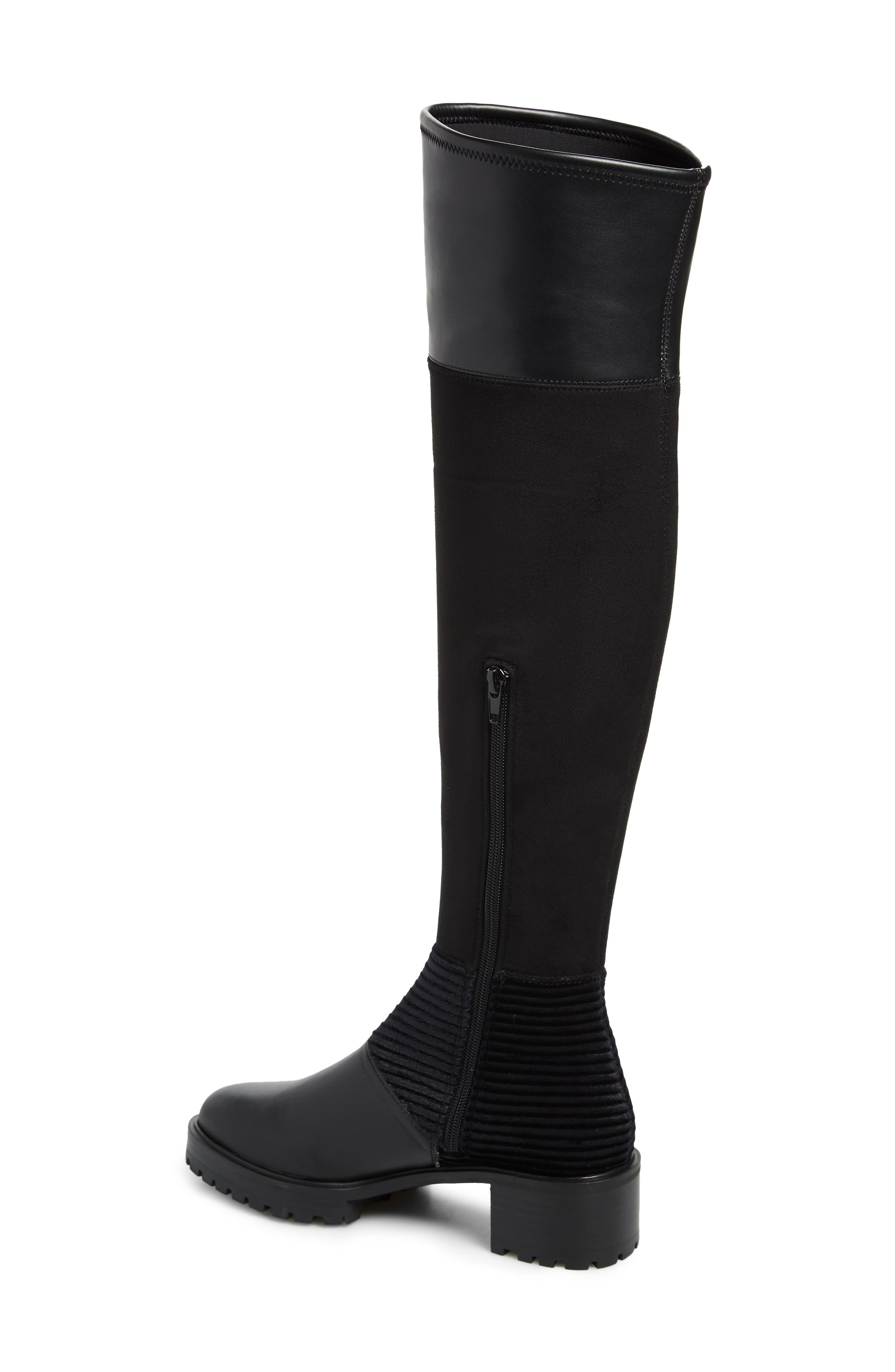 M4D3, Nakina Over the Knee Boot, Alternate thumbnail 2, color, BLACK LEATHER