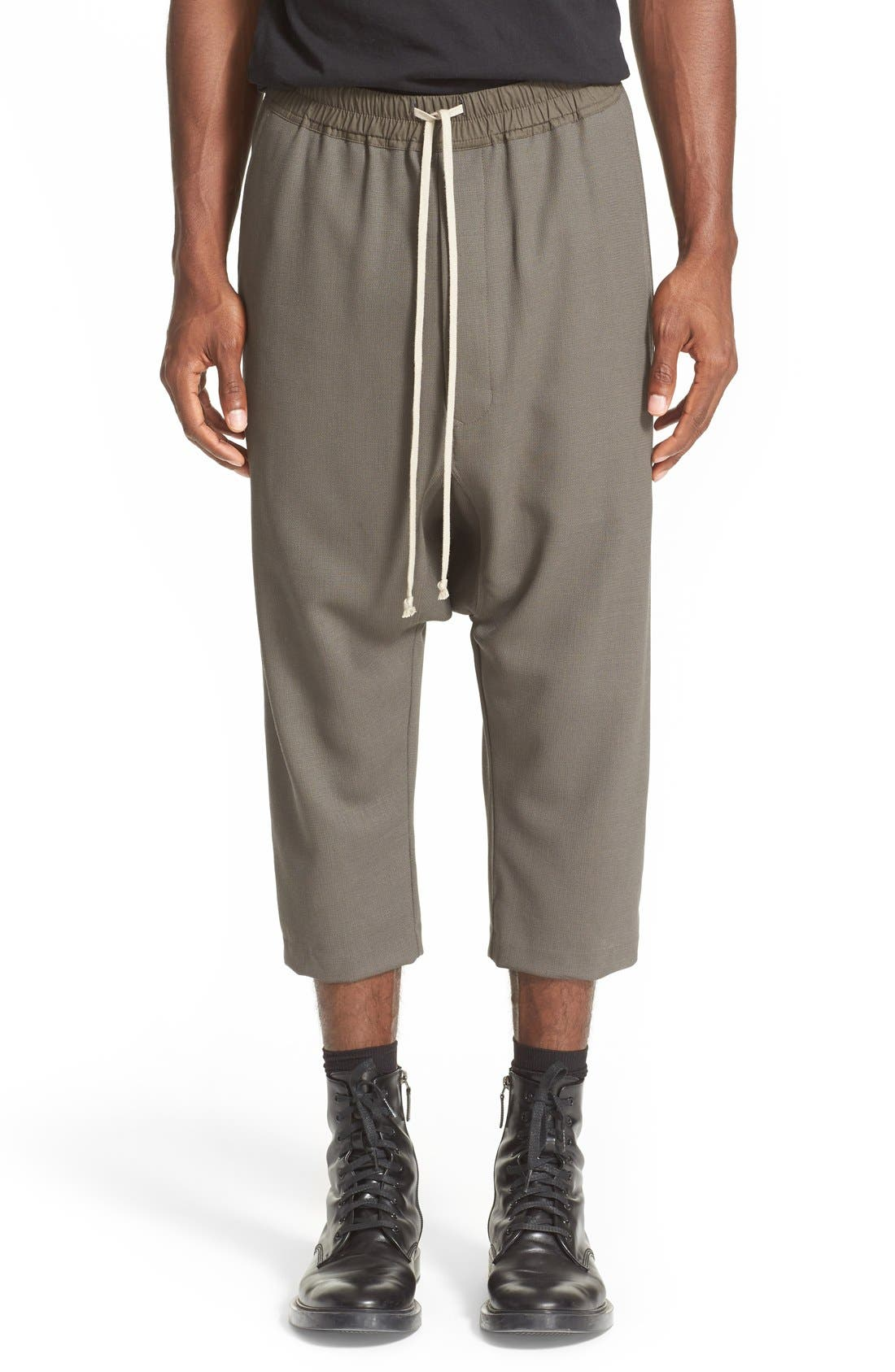 RICK OWENS Drop Crotch Wool Pants, Main, color, 021