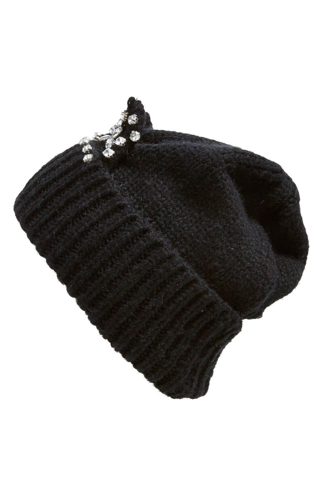BERRY, 'Jeweled Kitty' Beanie, Alternate thumbnail 3, color, 001