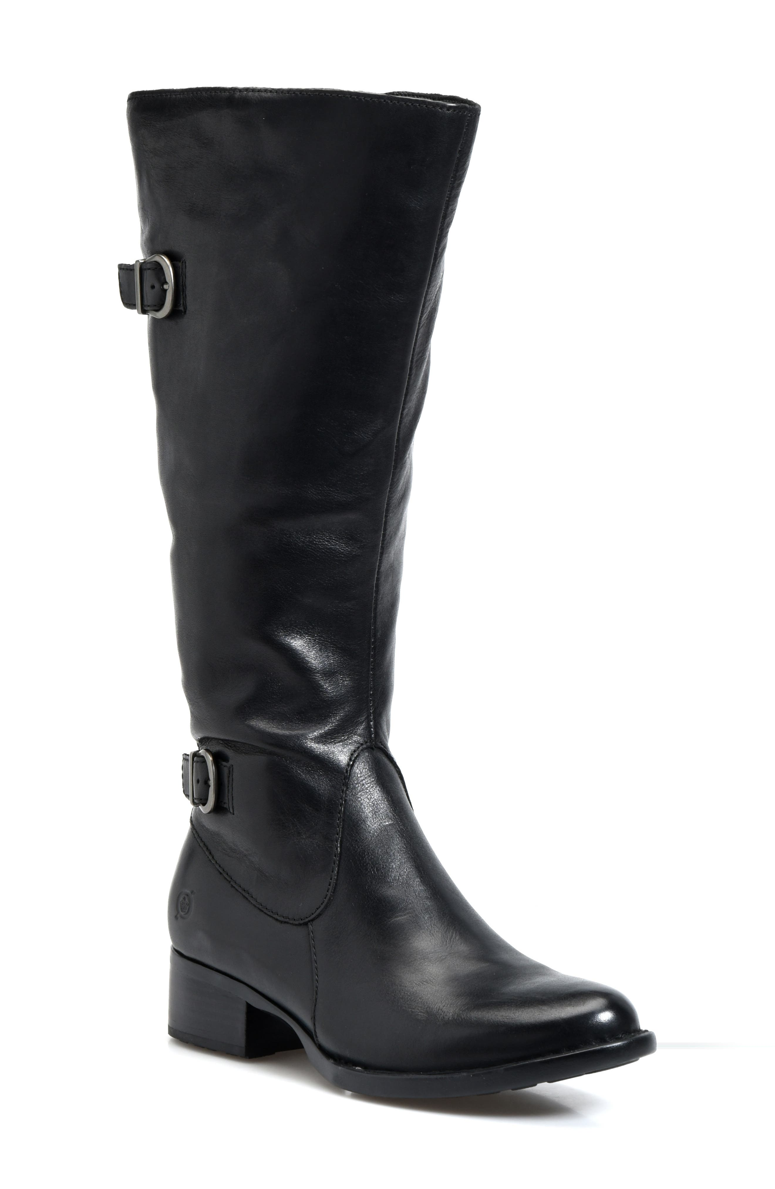 BØRN, Gibb Knee High Riding Boot, Main thumbnail 1, color, BLACK LEATHER