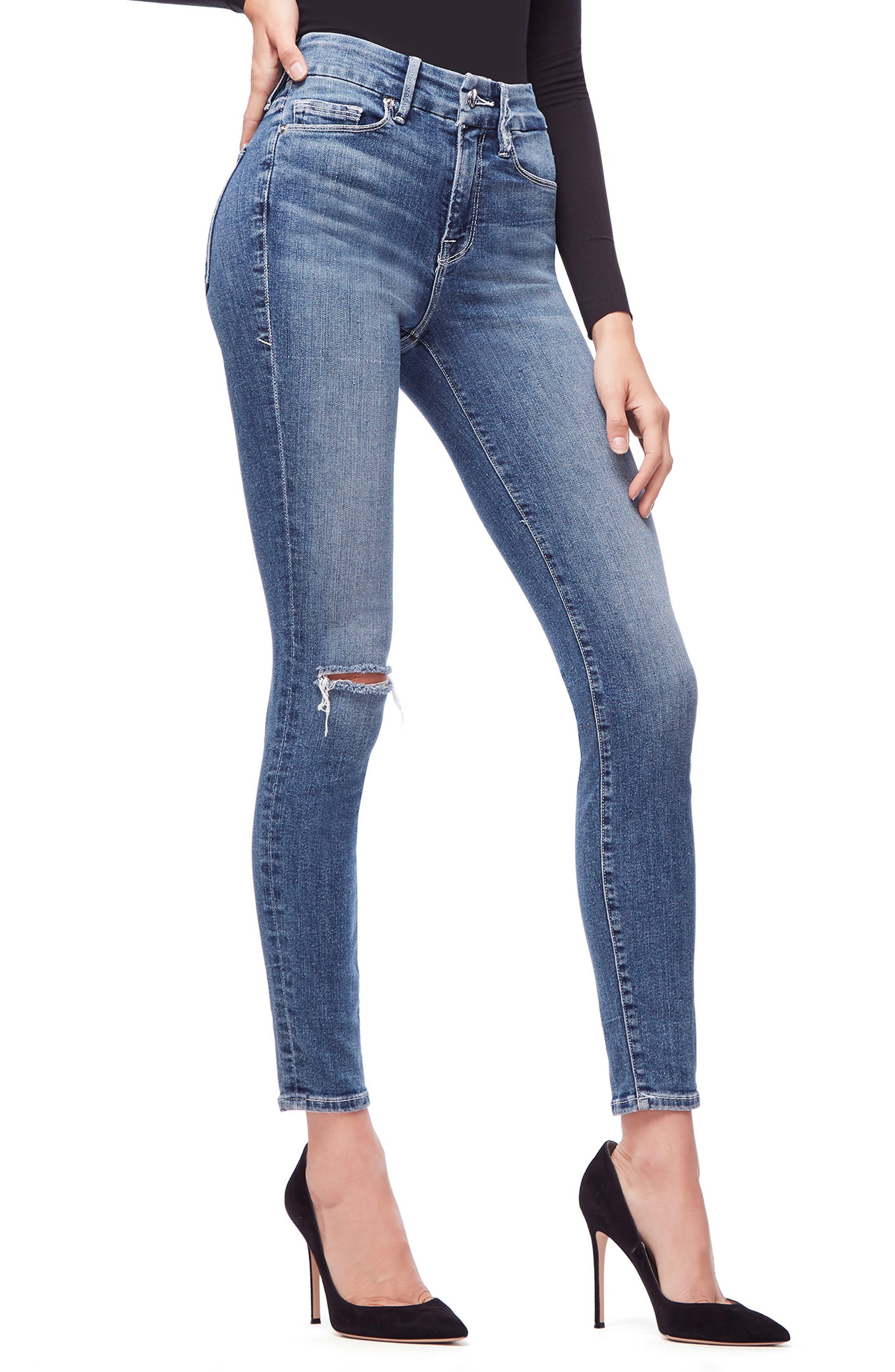 GOOD AMERICAN, Good Legs High Waist Skinny Jeans, Alternate thumbnail 5, color, BLUE186