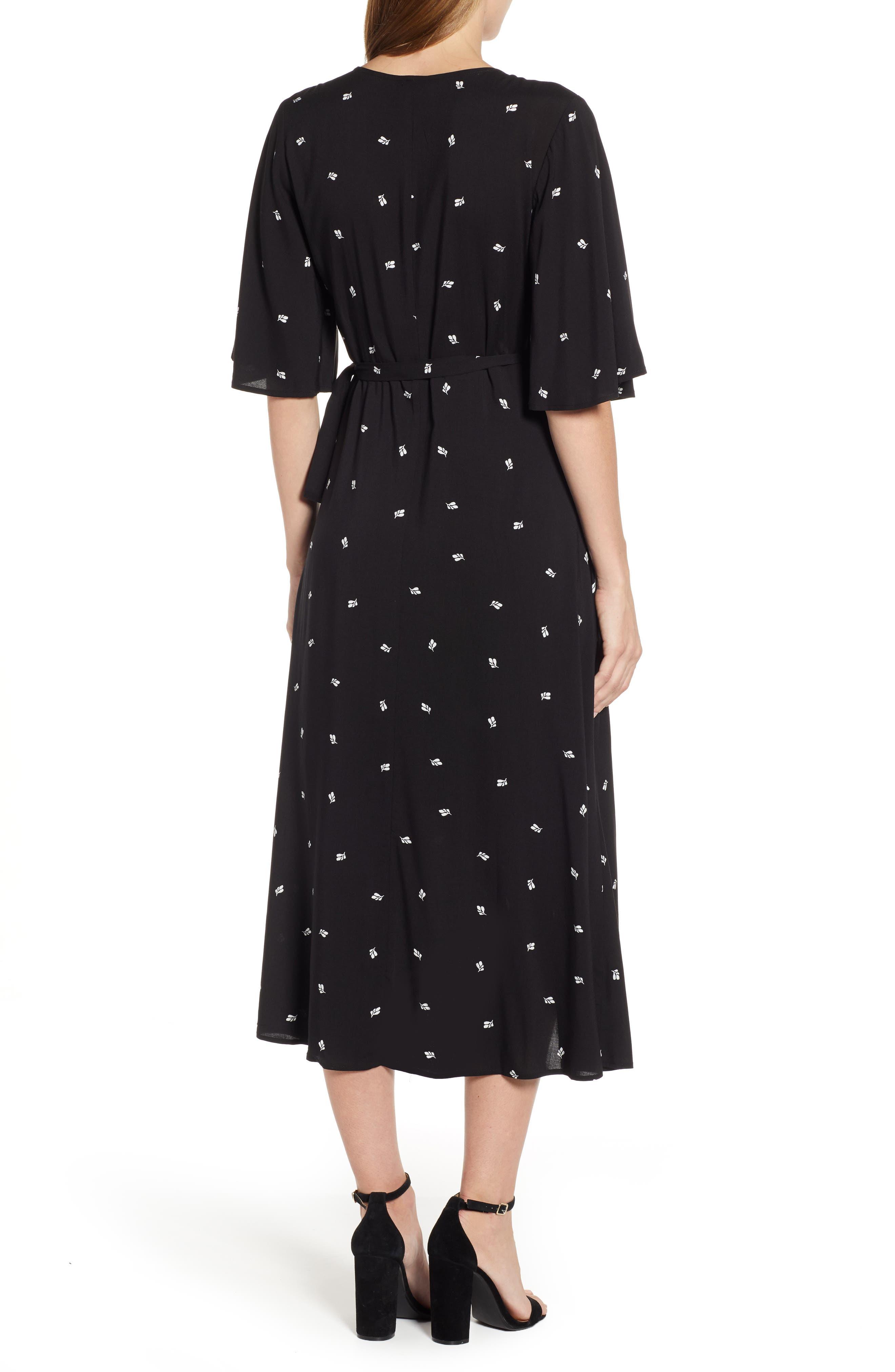 BOBEAU, Orna High/Low Wrap Dress, Alternate thumbnail 2, color, BLACK LEAF PRINT