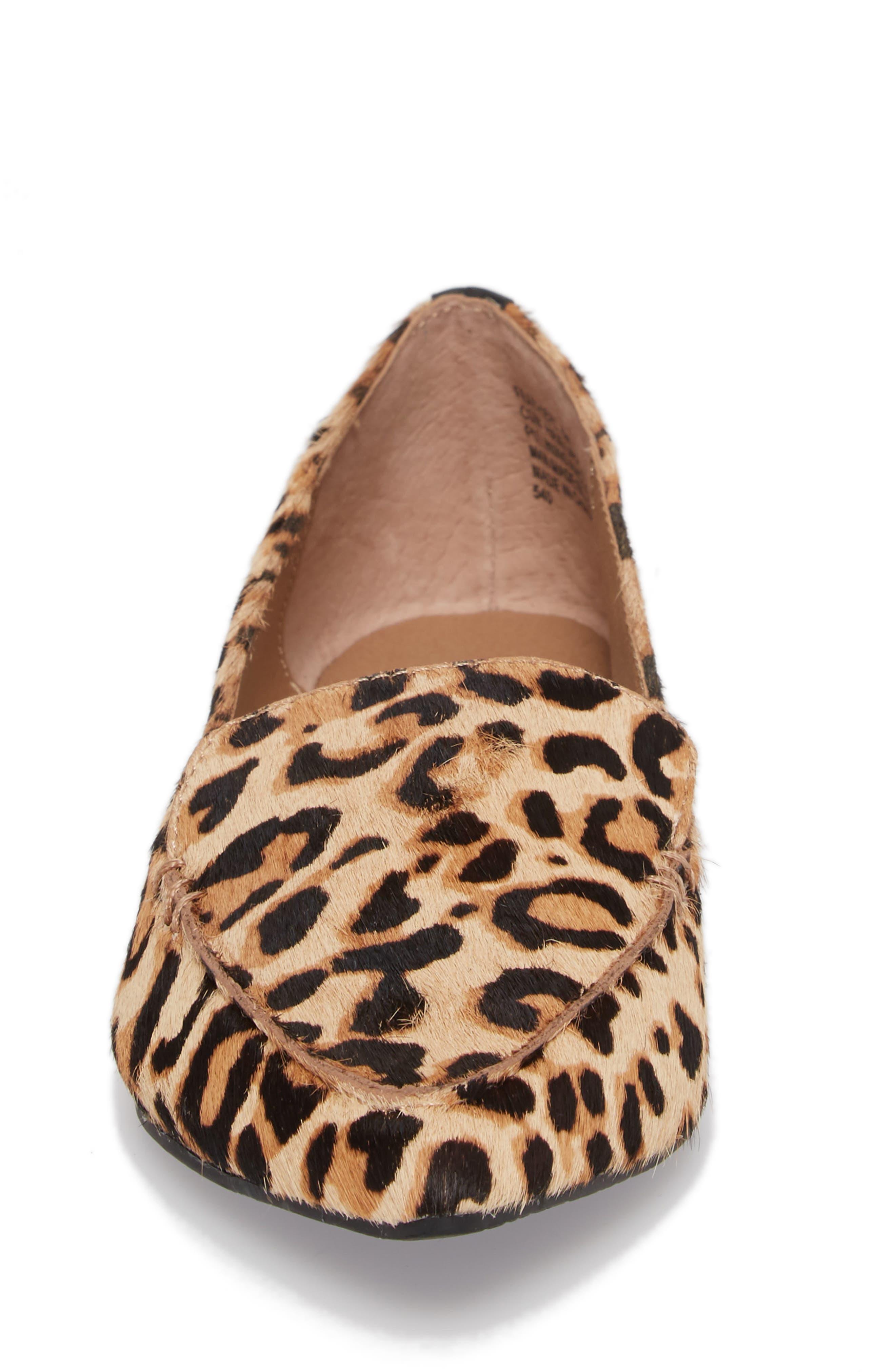 STEVE MADDEN, Feather-L Genuine Calf Hair Loafer Flat, Alternate thumbnail 4, color, LEOPARD